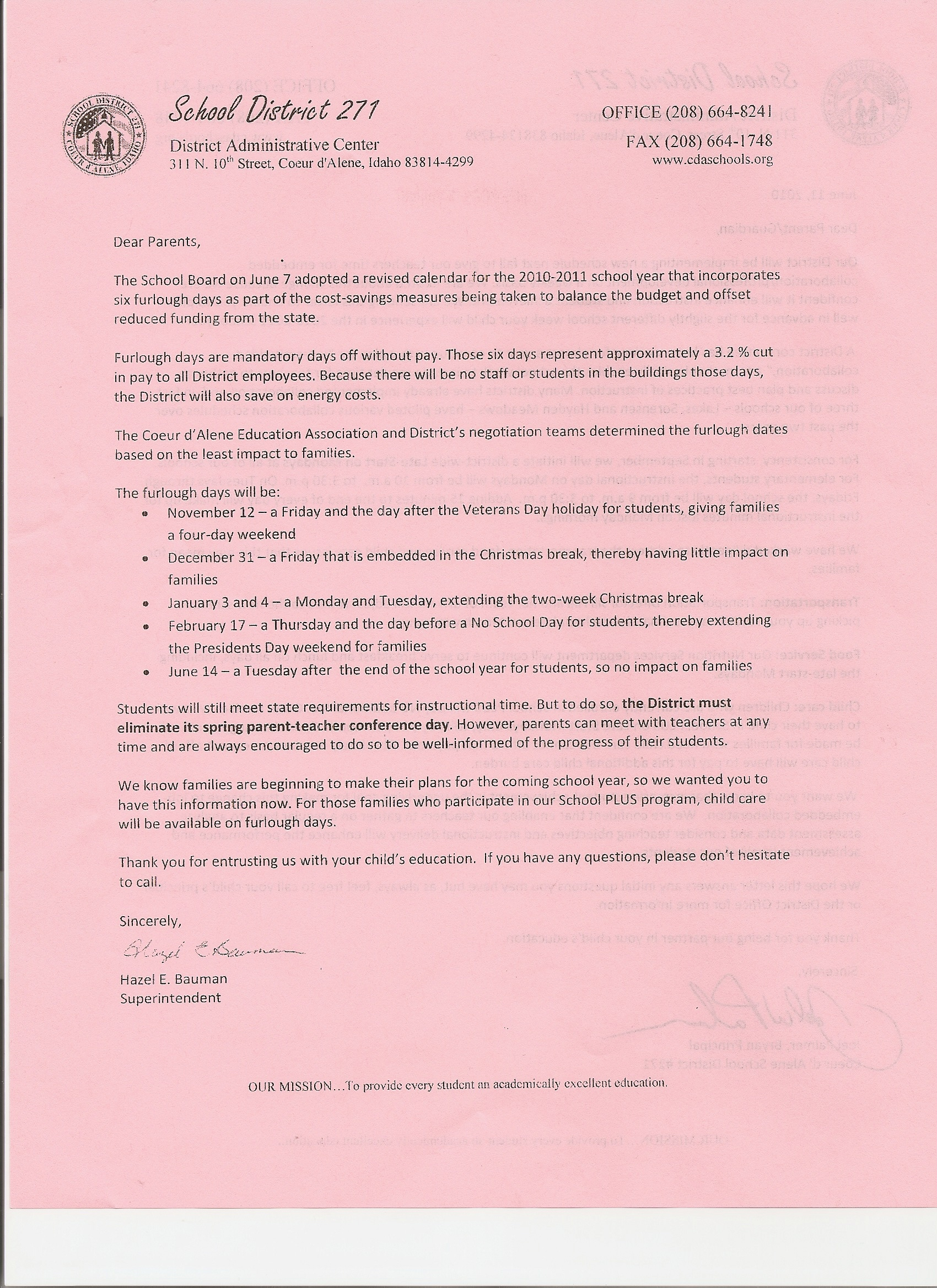 cda school district lists furlough days