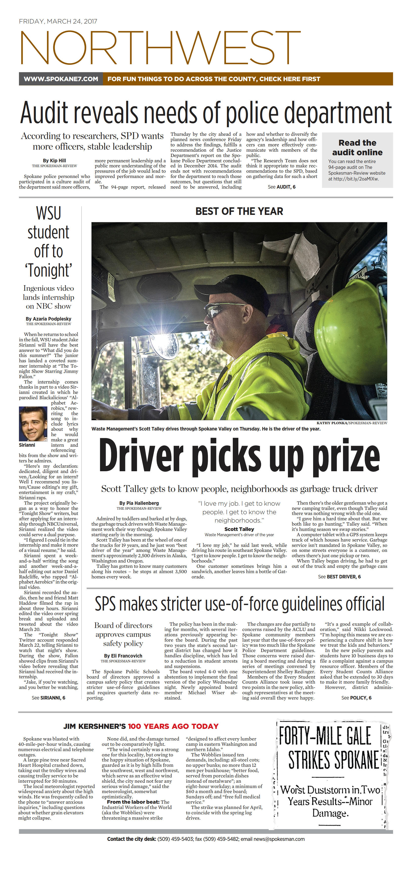 Front page for March 24, 2017 | The Spokesman-Review