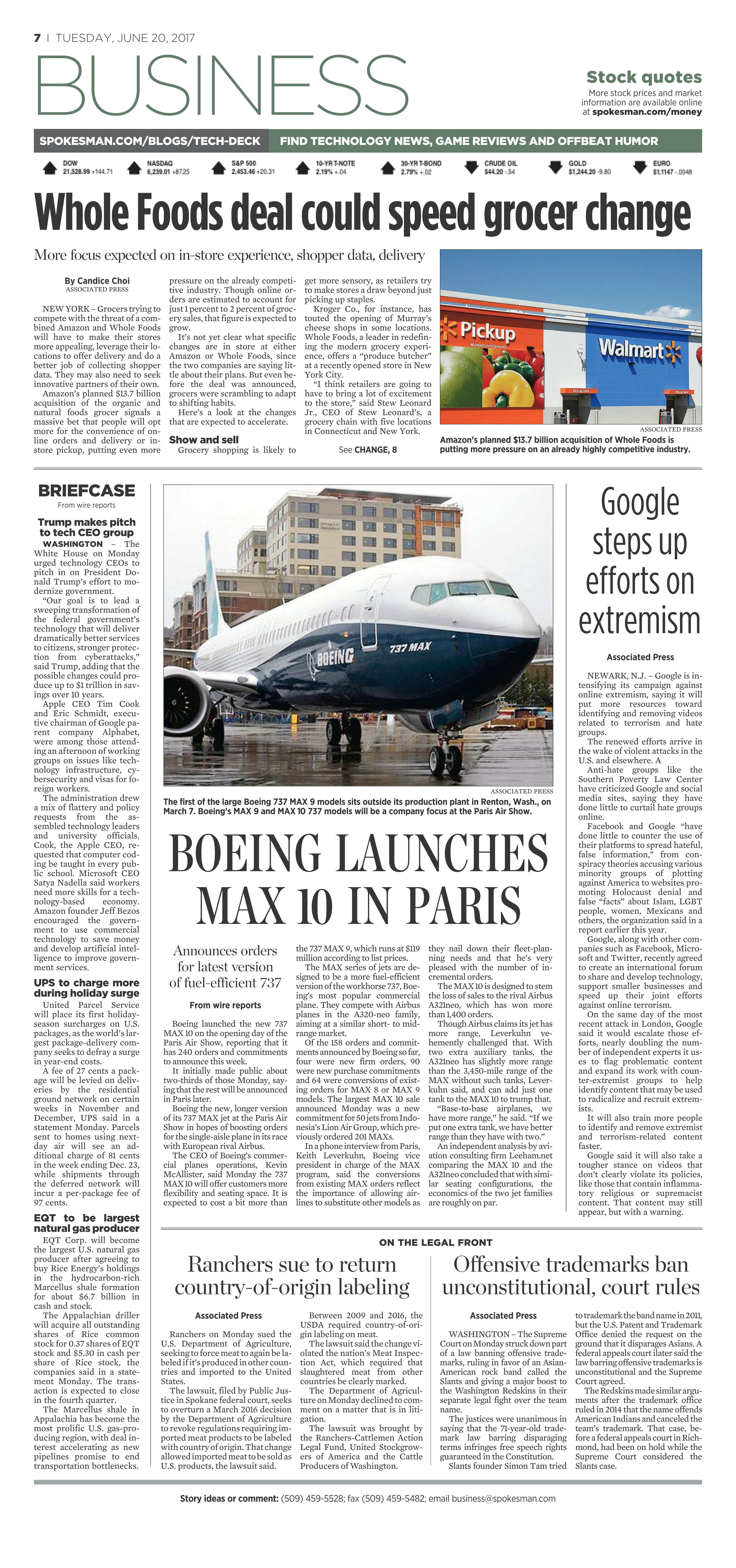 Front page for June 20, 2017 | The Spokesman-Review