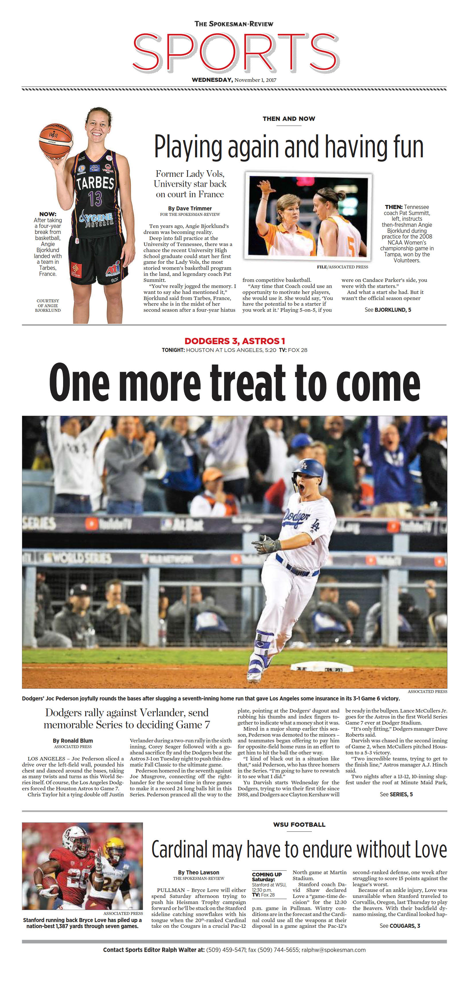 Front page for Nov  1, 2017 | The Spokesman-Review