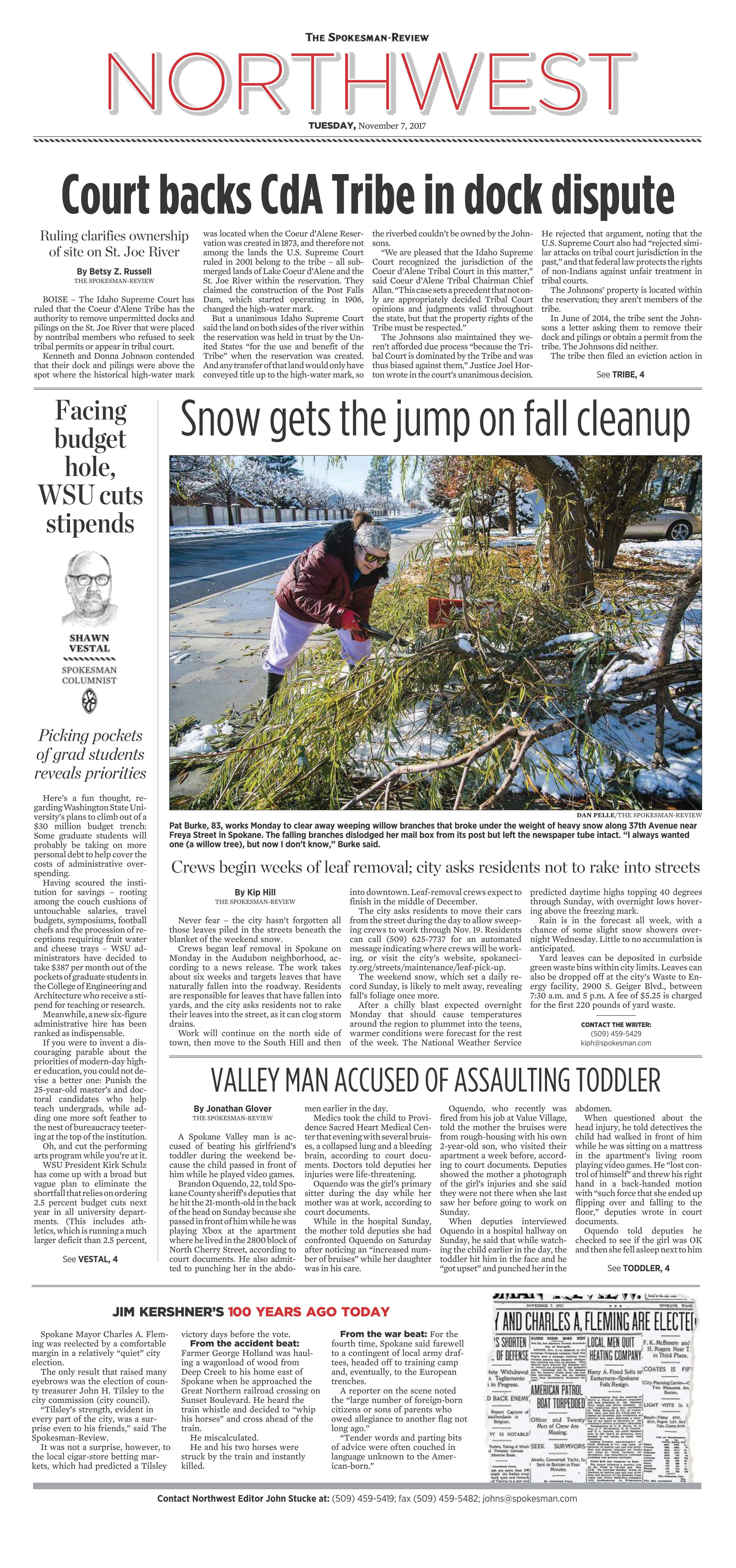 Front page for Nov  7, 2017 | The Spokesman-Review
