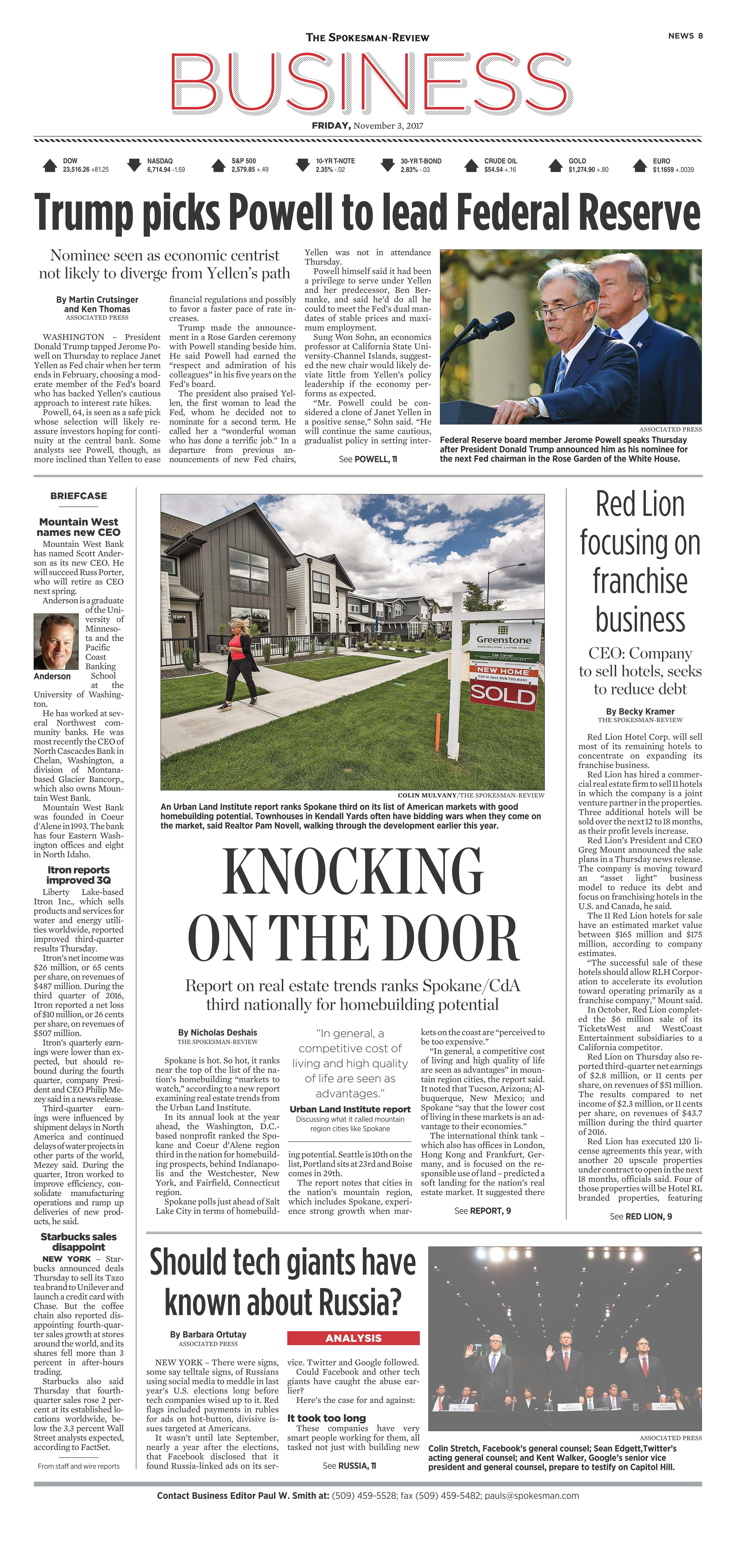 Front page for Nov  3, 2017 | The Spokesman-Review