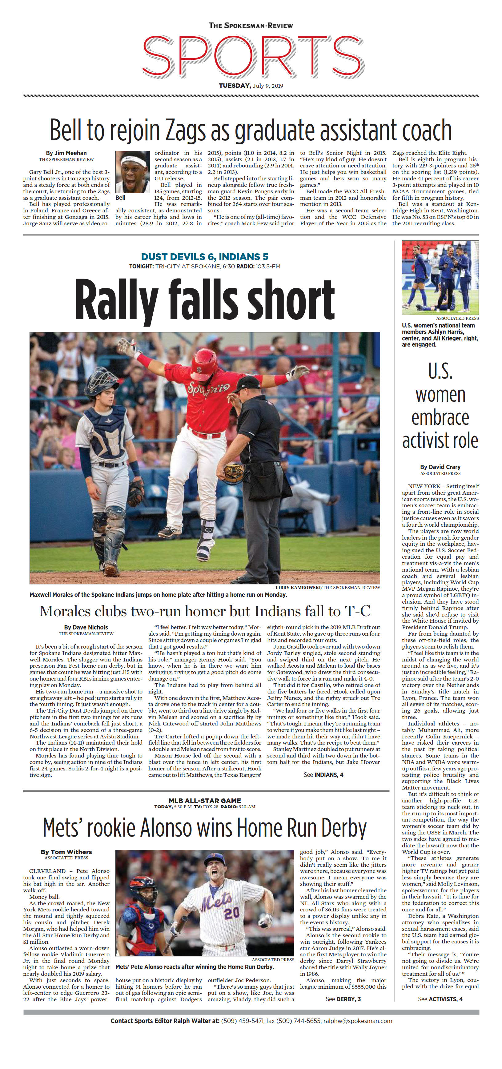 Front page for July 9, 2019 | The Spokesman-Review