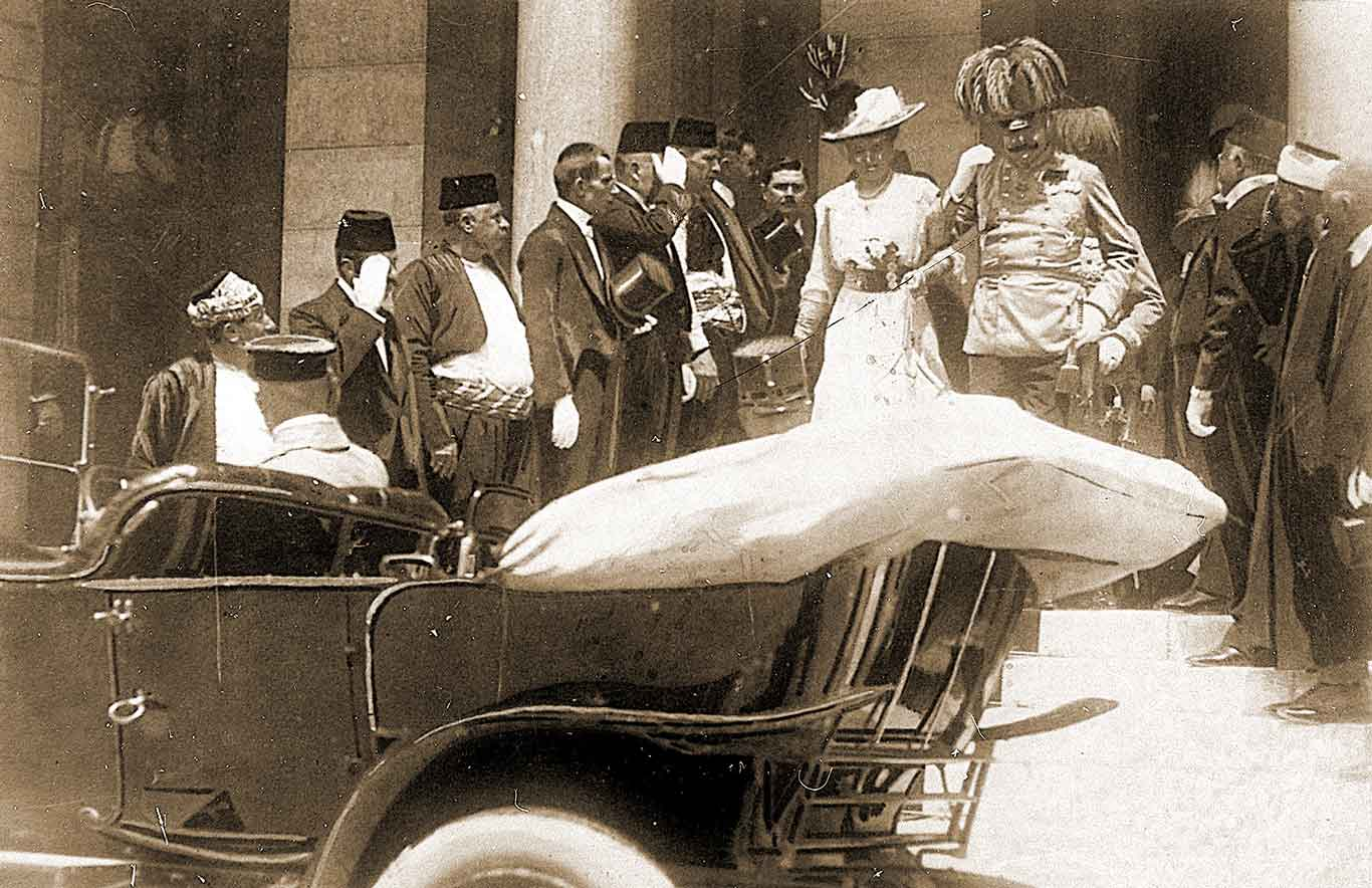 Archduke Franz Ferdinand and his wife, Sophie, leave a meeting on the day they were killed.
