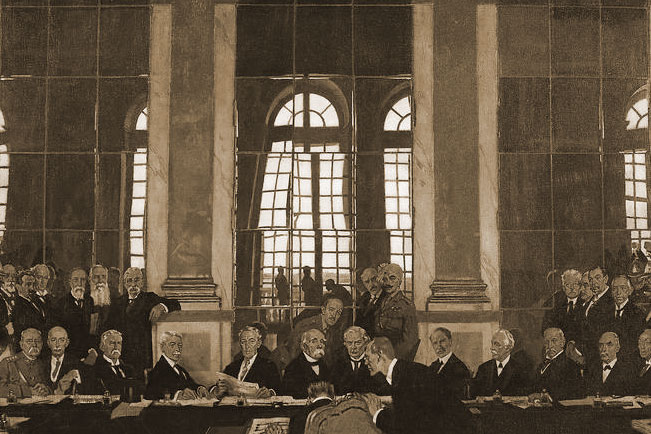 President Woodrow Wilson and other world leaders at the Hall of Mirrors in the Palace of Versailles.