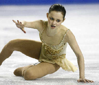 US Skater Sasha Cohen Falls While Attempting To Land A Jump Wednesday Associated Press