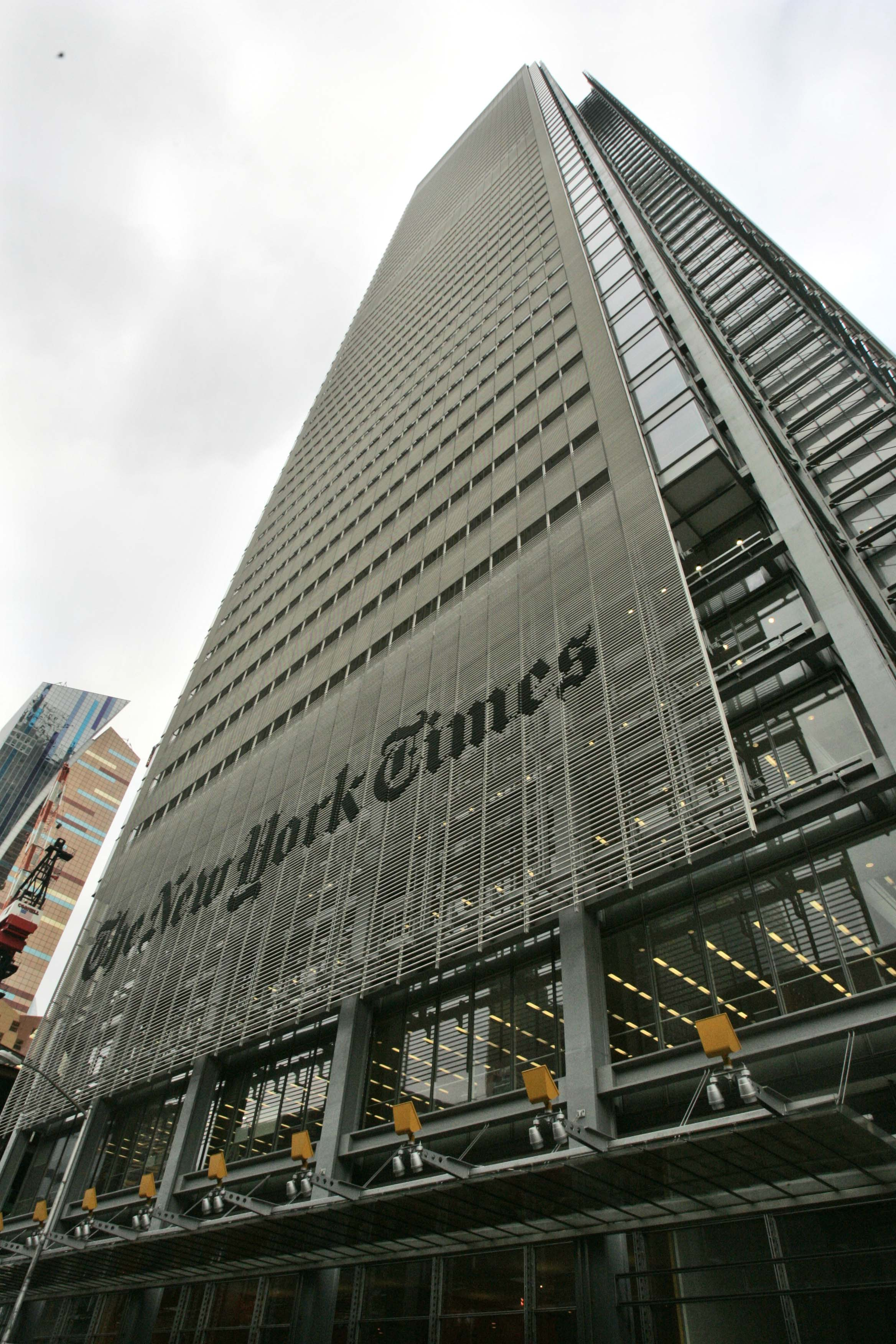 The New York Times Building Is Shown In New York With Revenue Plunging Many Newspaper