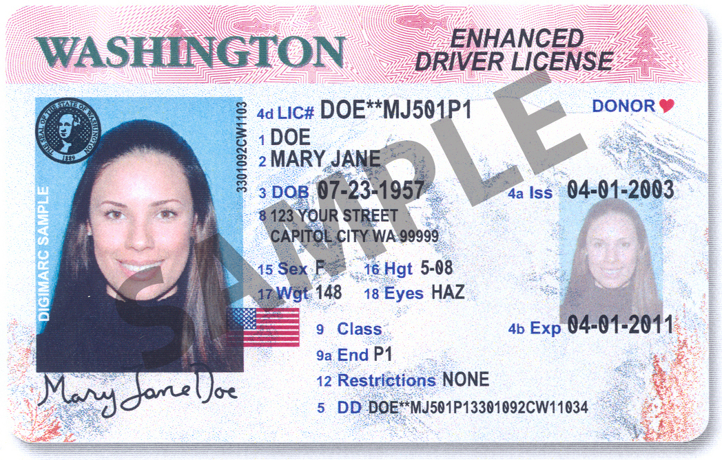This Is An Image Of The New Washington State Enhanced Driver License Courtesy