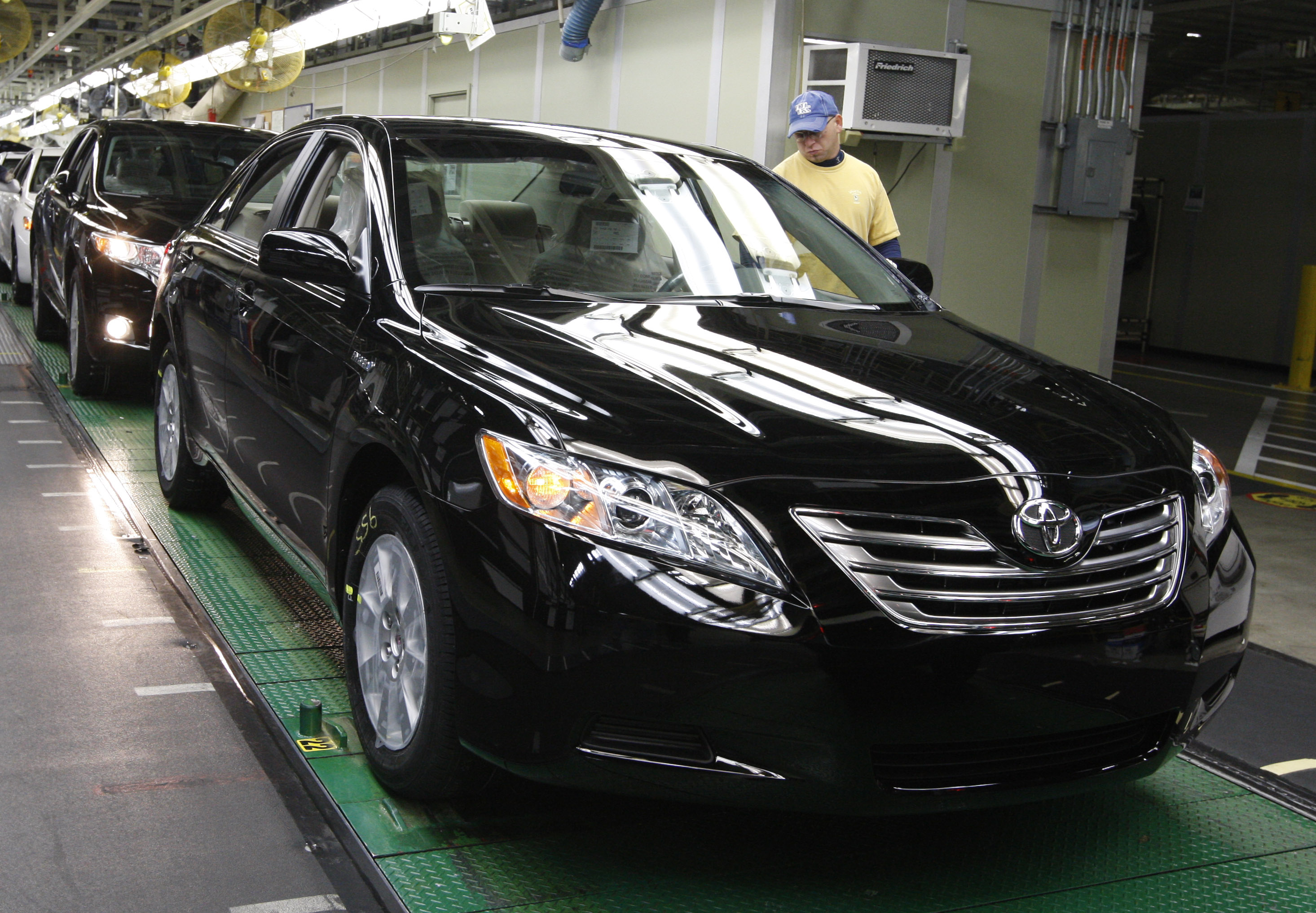 A Worker Inspects A Toyota Camry At The Toyota Motor Manufacturing Kentucky  Plant In Georgetown,