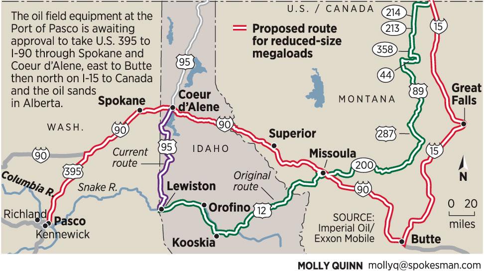 Company plans to resize, reroute megaloads through Spokane