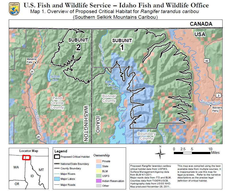 map of area proposed by the u s fish and wildlife service for protection as critical habitat