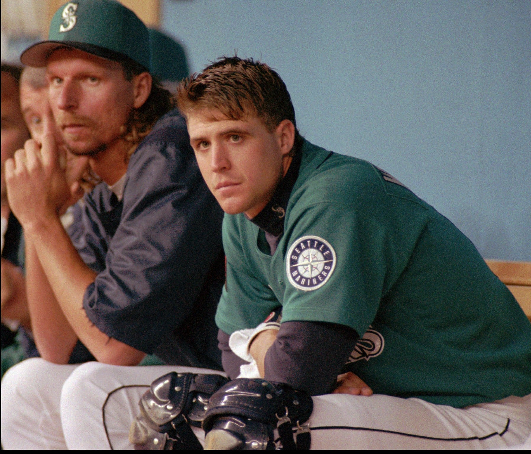 2768fe8d25 Pitcher Randy Johnson, left, and catcher Dan Wilson will enter the Mariners  Hall of