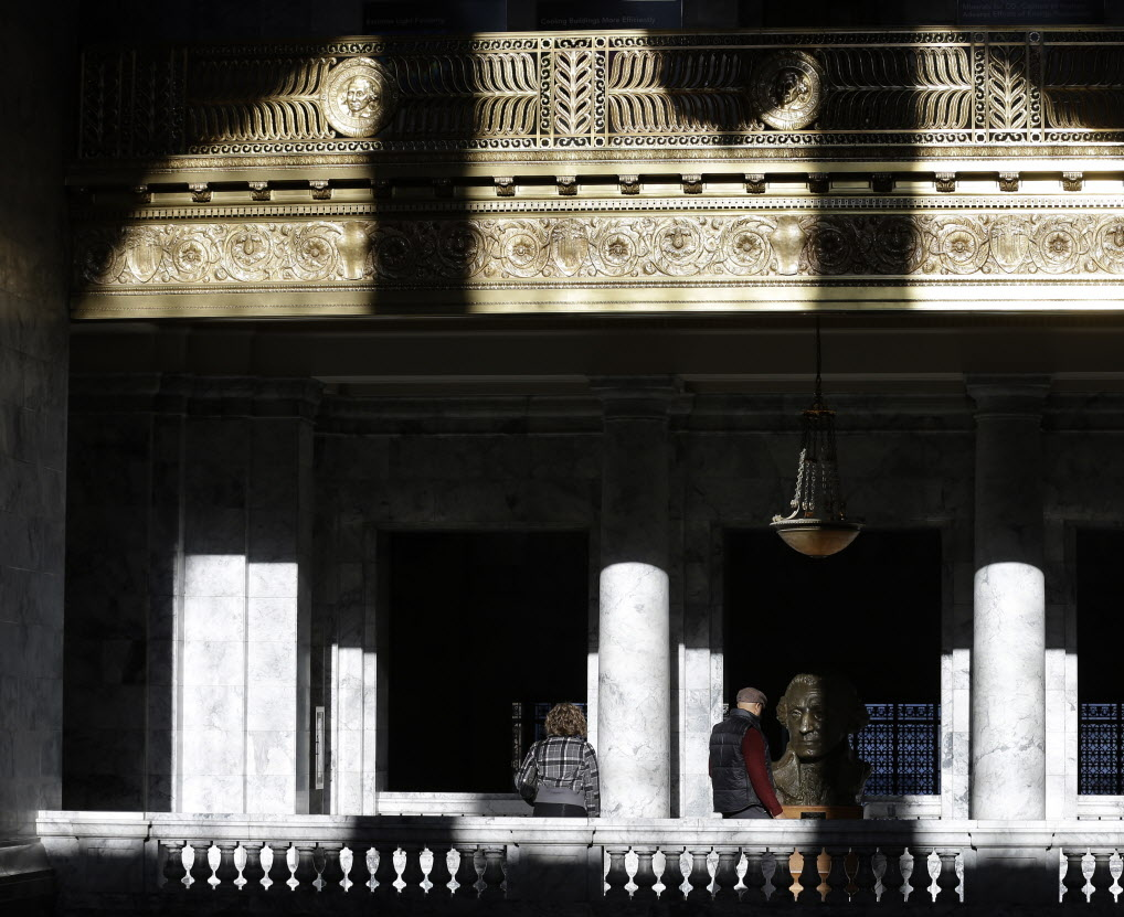 Midday Sunlight Streams Through The Rounded Windows Of Capitol Rotunda On Friday In Olympia As
