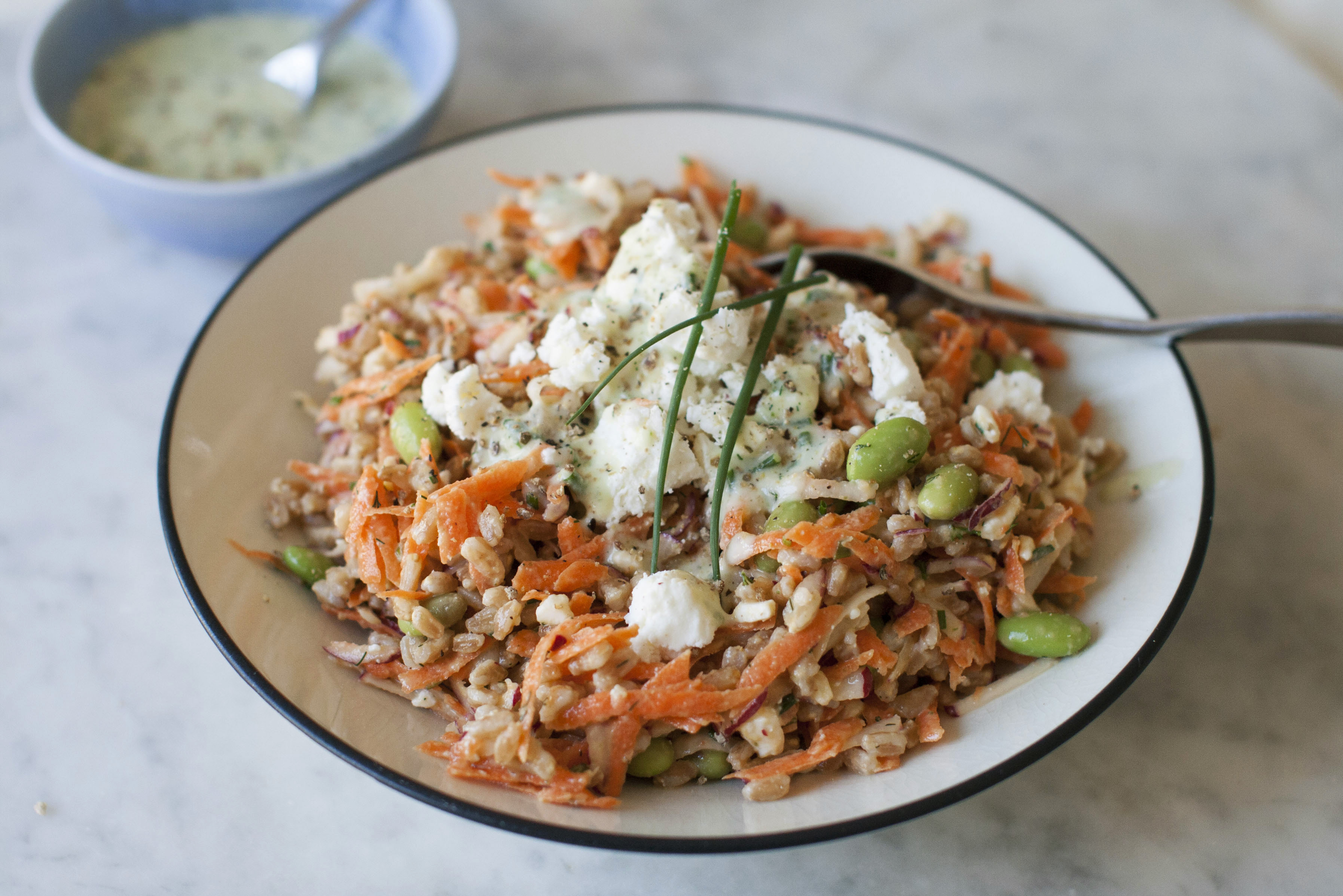 Farro, vegetable salad nutritious and