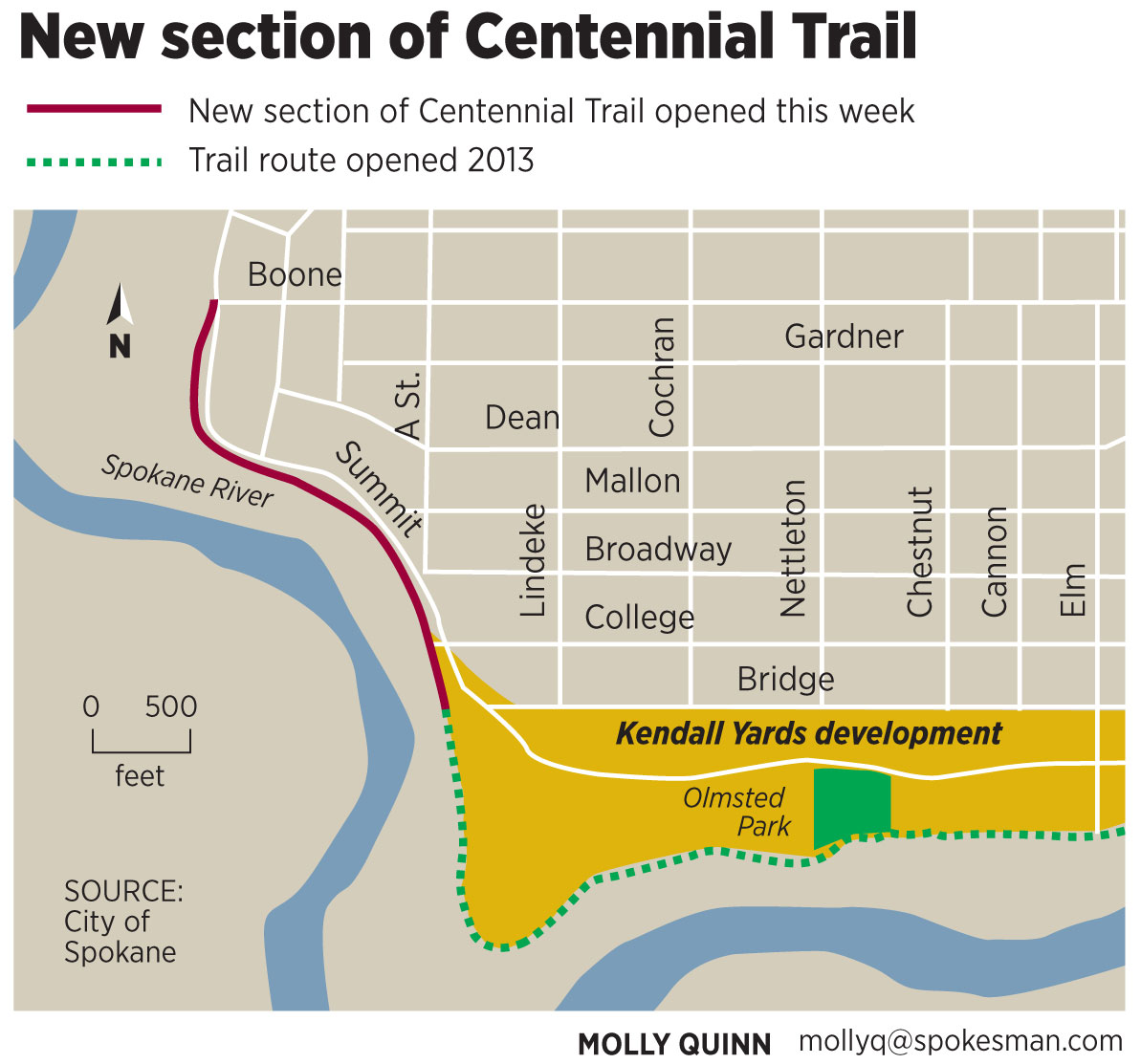New section of centennial trail overlooks spokane river the new section of centennial trail mile 25 graphic by molly quinn publicscrutiny Gallery