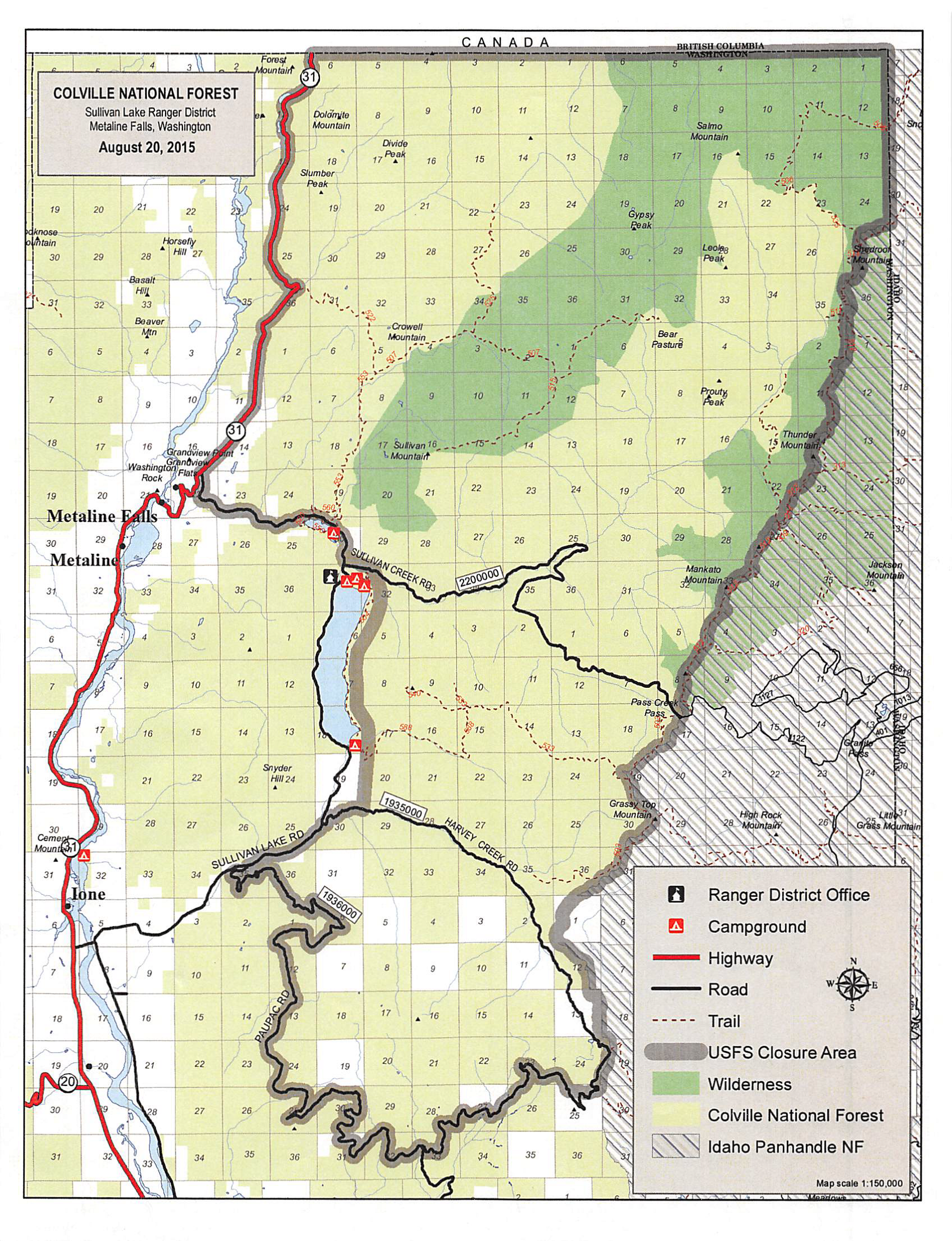 Fire Activity Causes Colville Forest To Close Huge Areas To Public - Map of us national forest