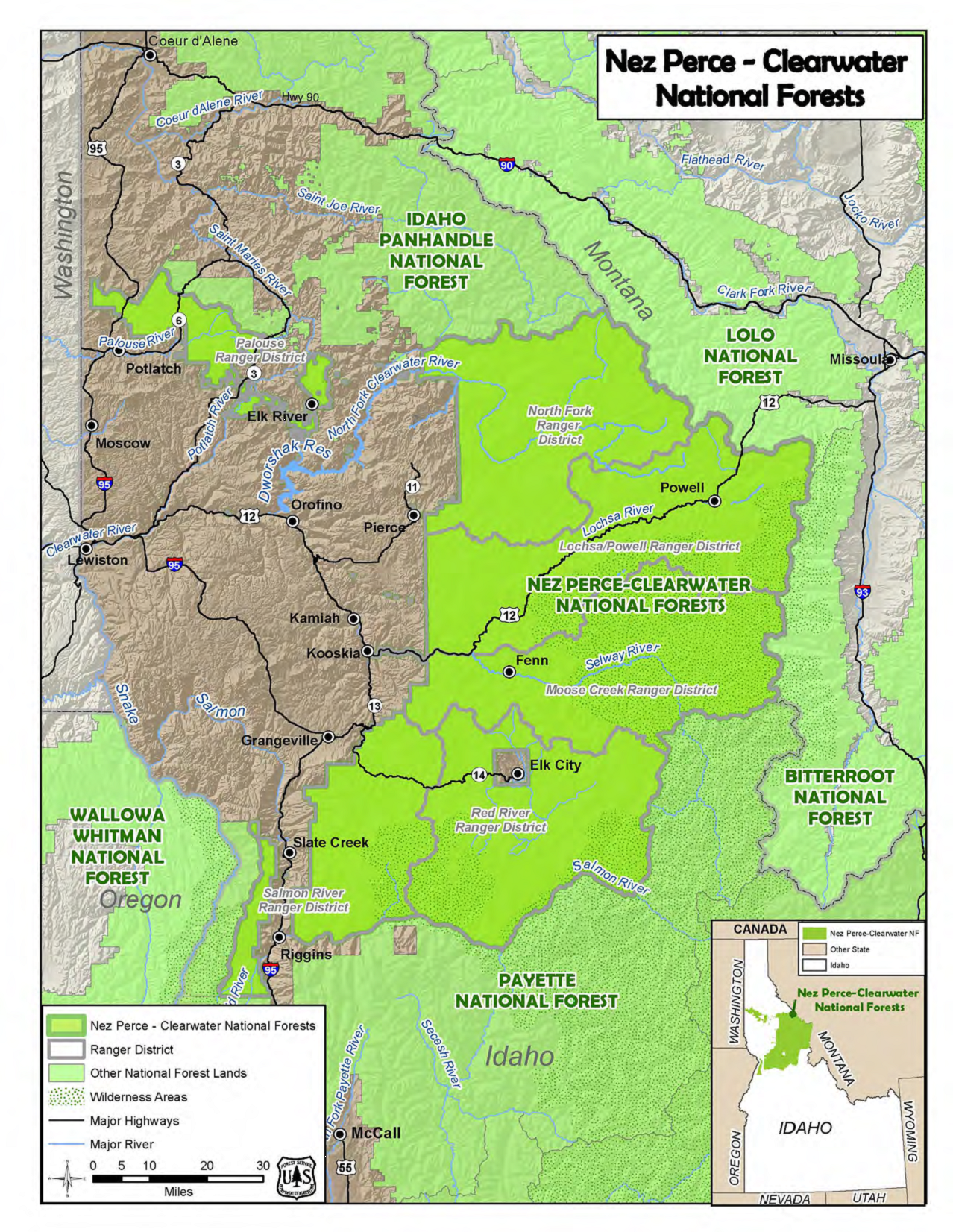 Clearwater Nez Perce Closes Most Of Forest To Public Access As Wind - Map-of-us-forests