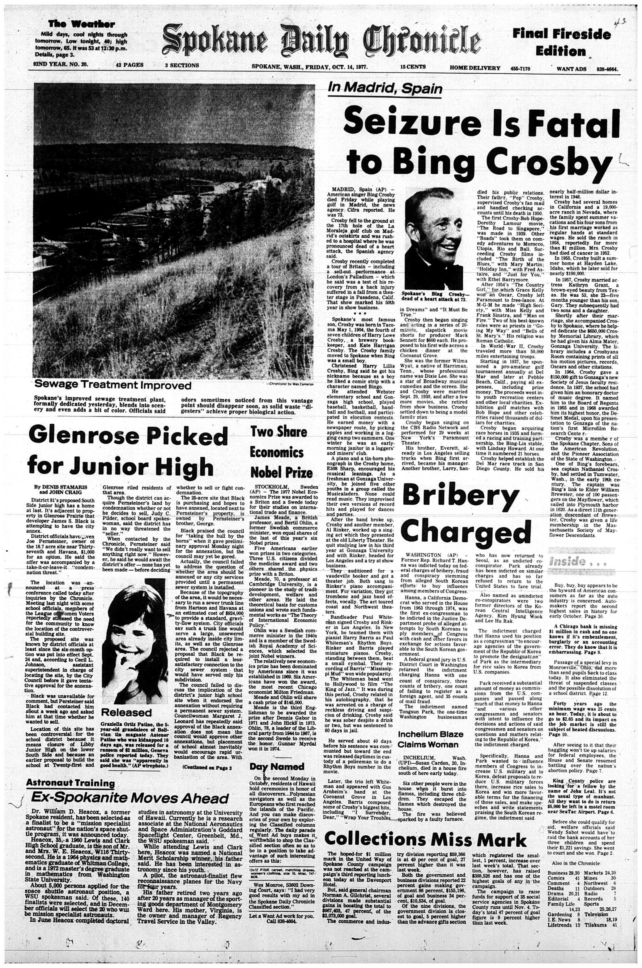 Bing Crosby's 1977 obituary as it appeared in the Spokane