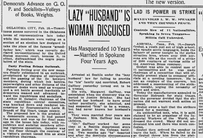 100 years ago in Seattle: After 4 years of marriage, wife discovers