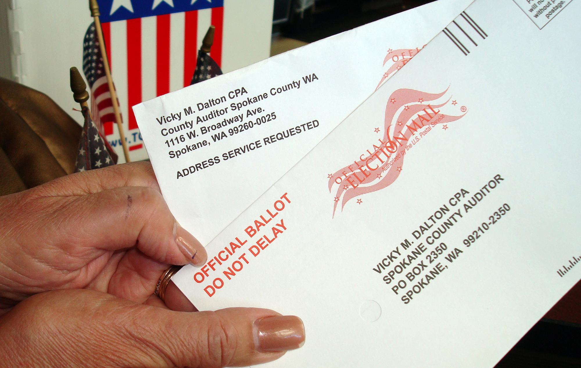 Cindy Zapotocky Then Chairwoman Of The Spokane County Republican Party Shows Ballot Envelopes