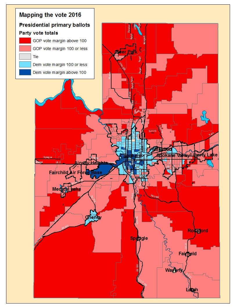 Mapping The Vote Red V Blue In Spokane County  The