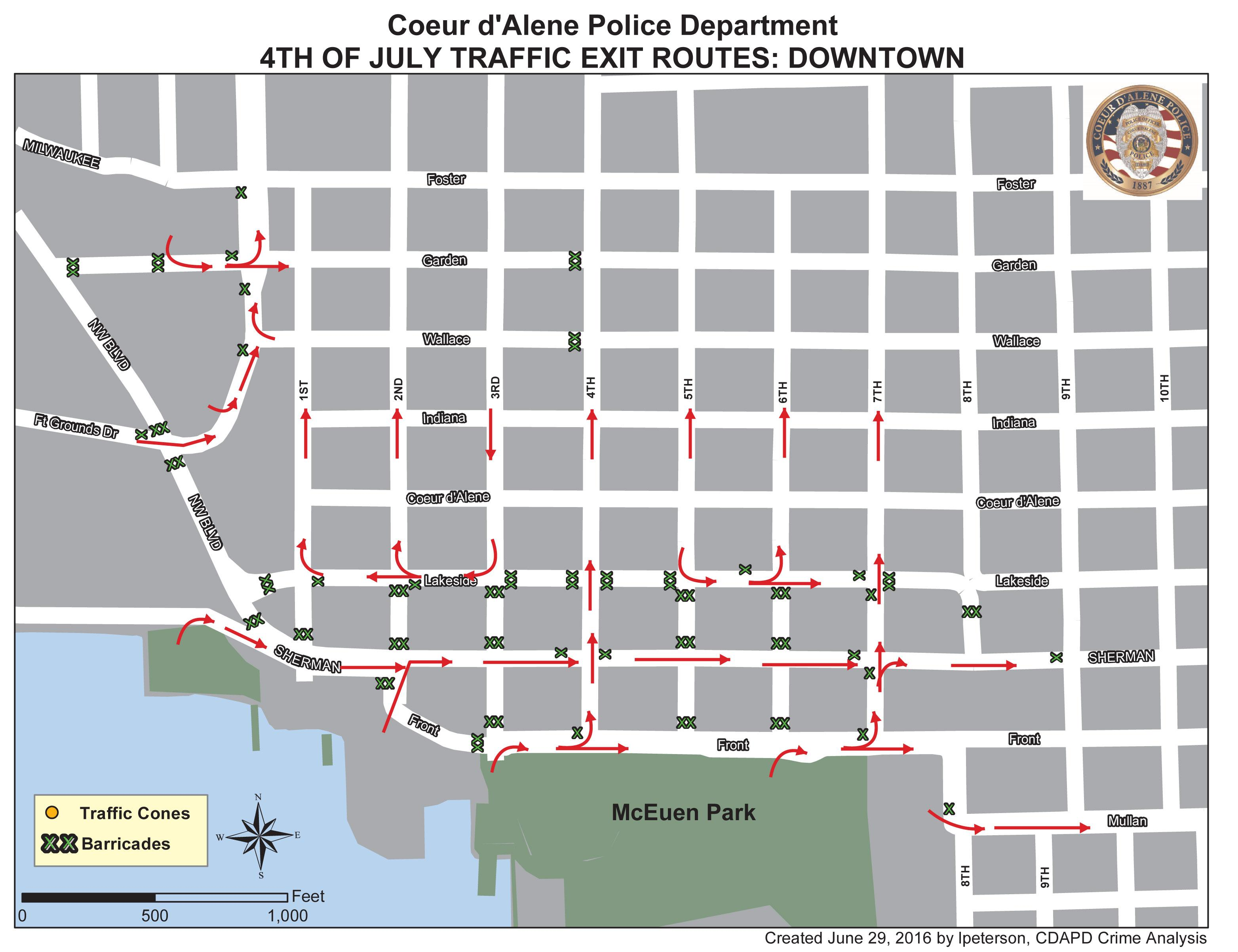 Coeur DAlene Creates Traffic Plan For July 4 Fireworks