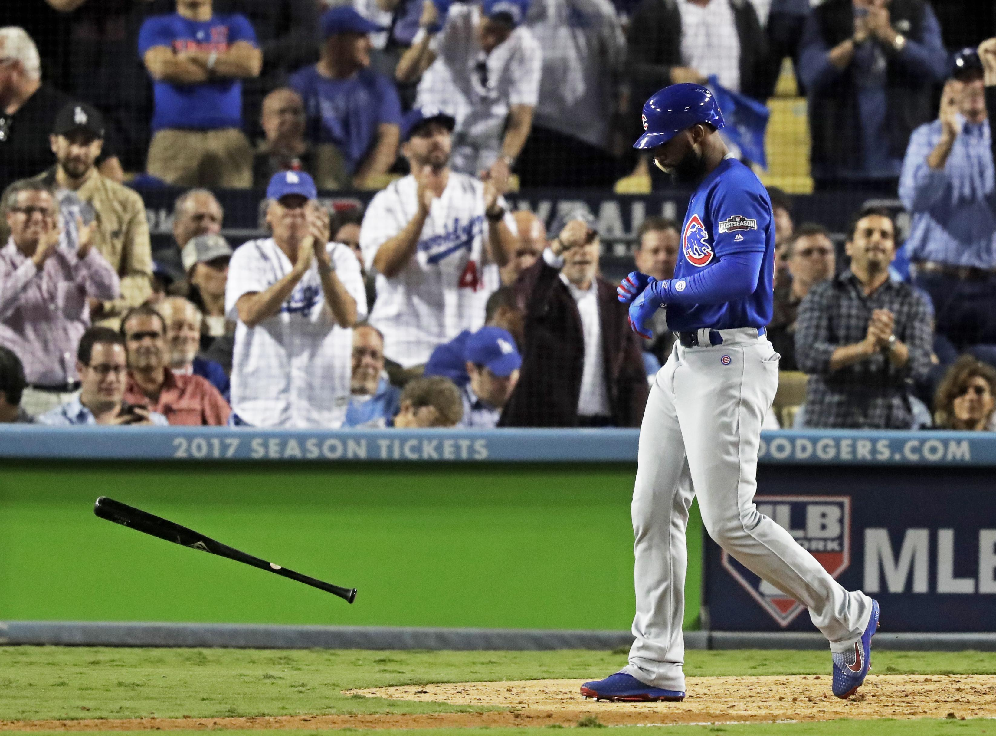 a83145cd20d Chicago Cubs  Jason Heyward tosses his bat after striking out during the  seventh inning of