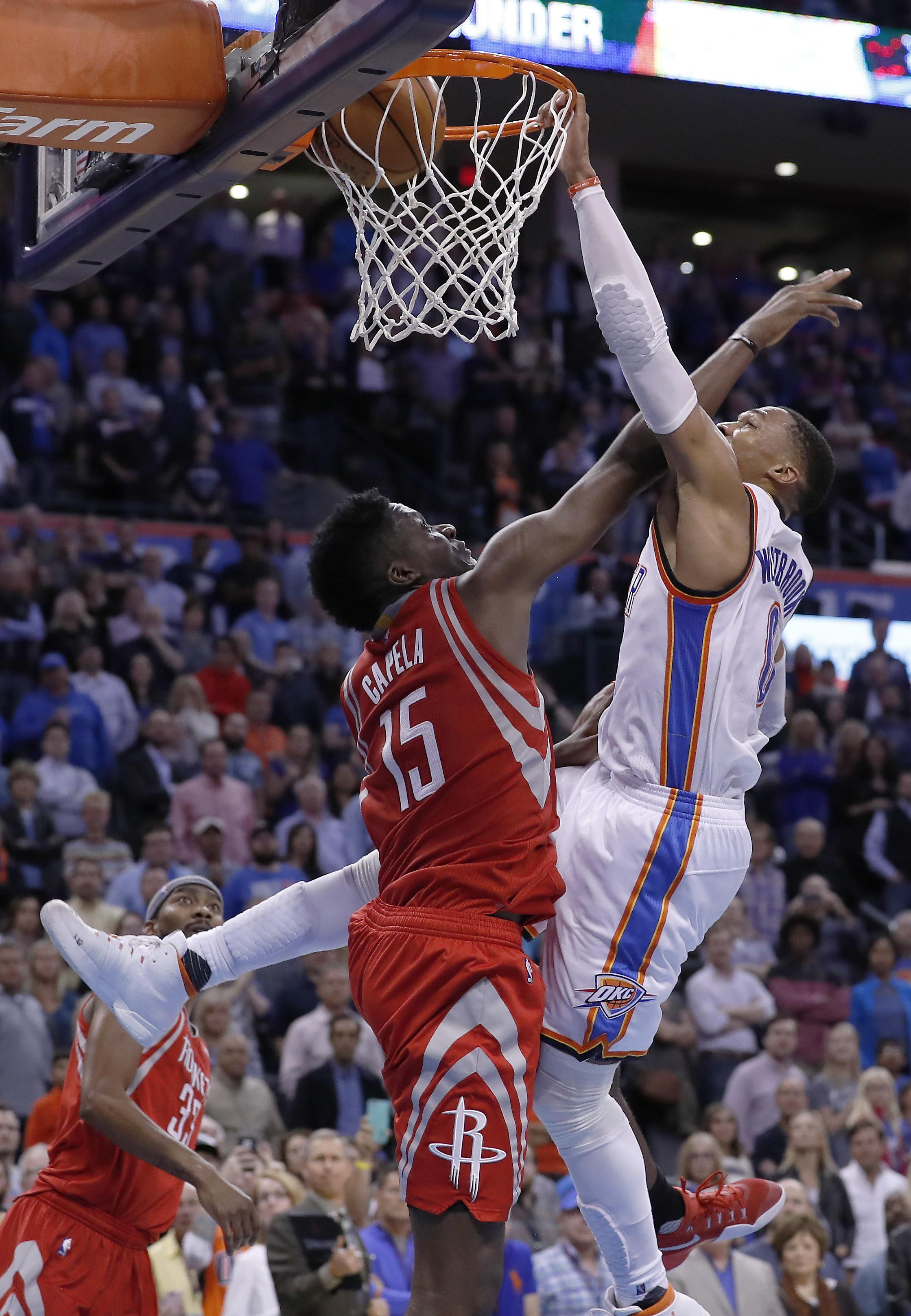 Nba Capsules Westbrook Scores 30 As Thunder Top Rockets The Spokesman Review