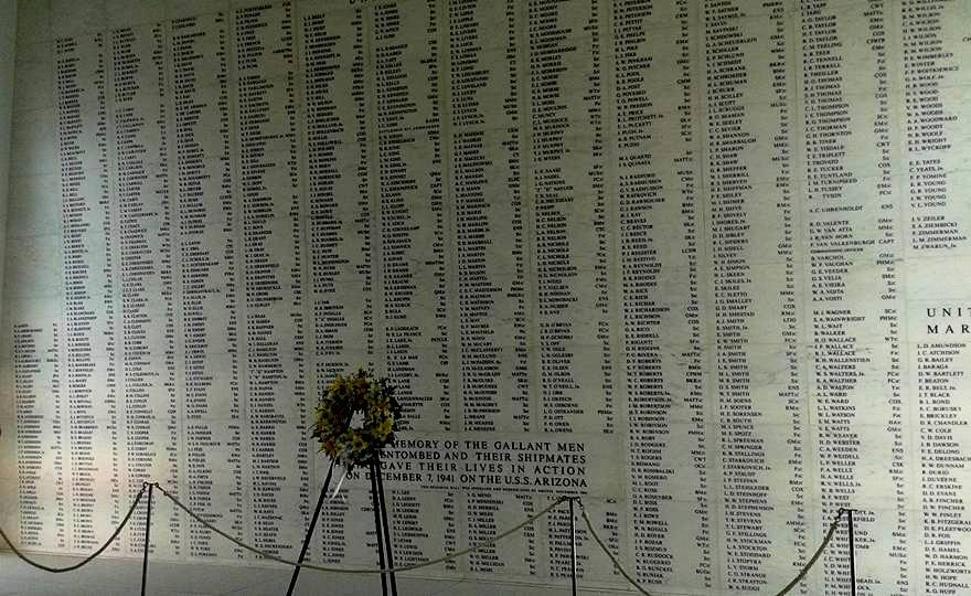 More than 1,100 names of the men who died on the USS Arizona appear on the memorial wall at Pearl Harbor. (Cindy Hval)