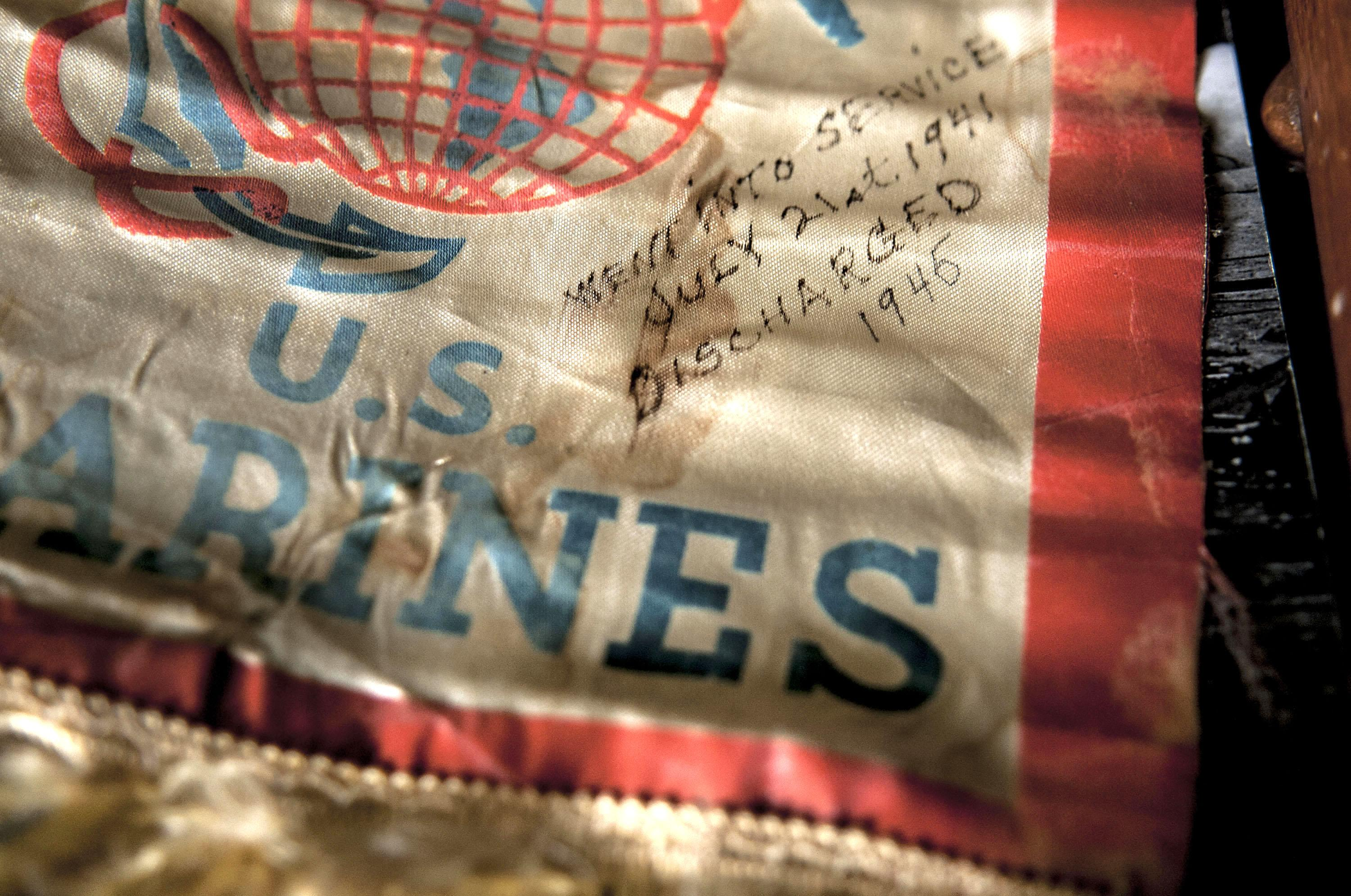 Pearl Harbor survivor Ray Garland's mother Genevieve kept this souvenir U.S. Marines flag hanging from the front window of her home in Butte, Montana until he was discharged in 1946. He talked about her from his home in Coeur d'Alene on July 8, 2016. (Kathy Plonka / The Spokesman-Review)