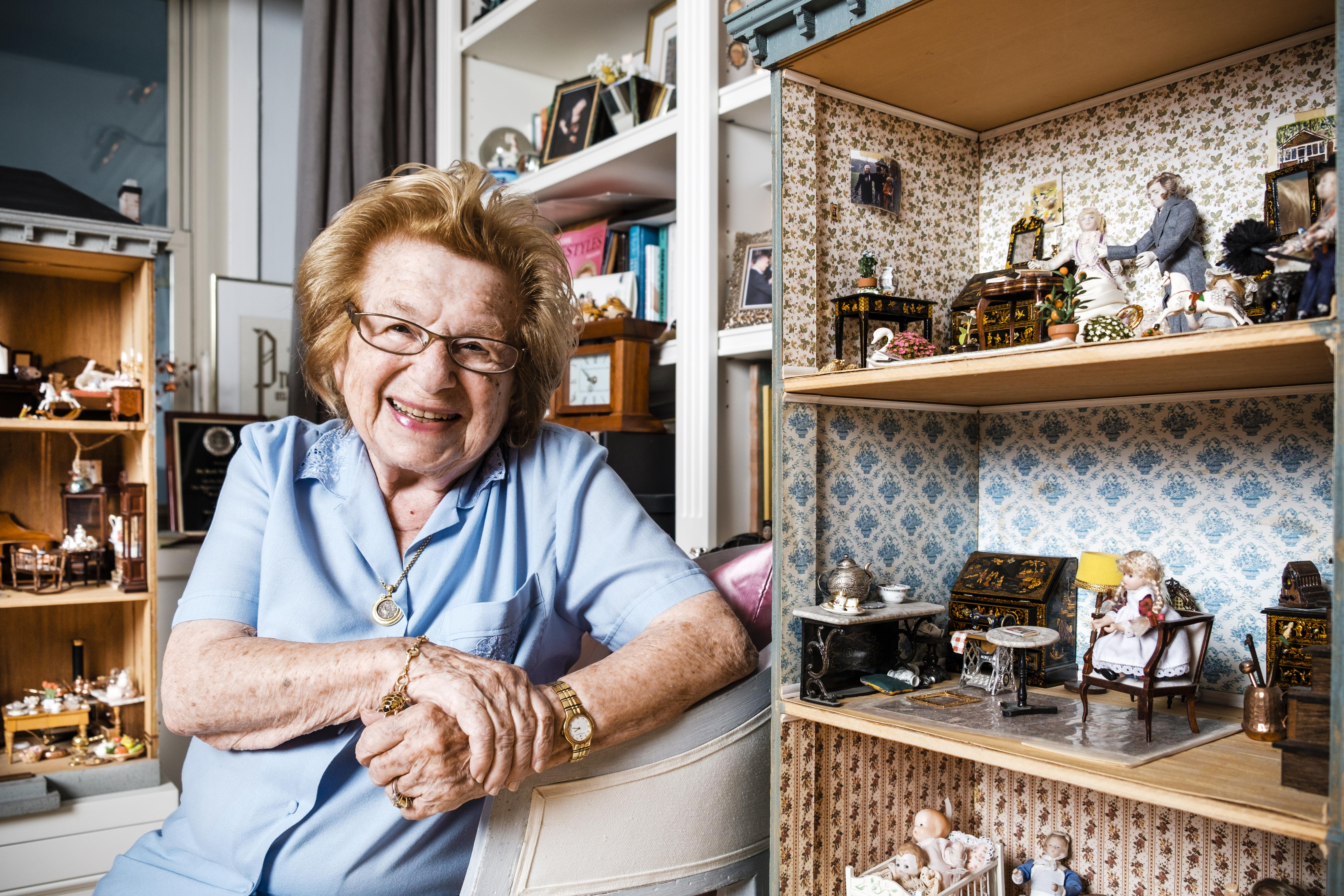Dr Ruth Westheimer Poses In Front The Dollhouses She Has Collected Over Past 20