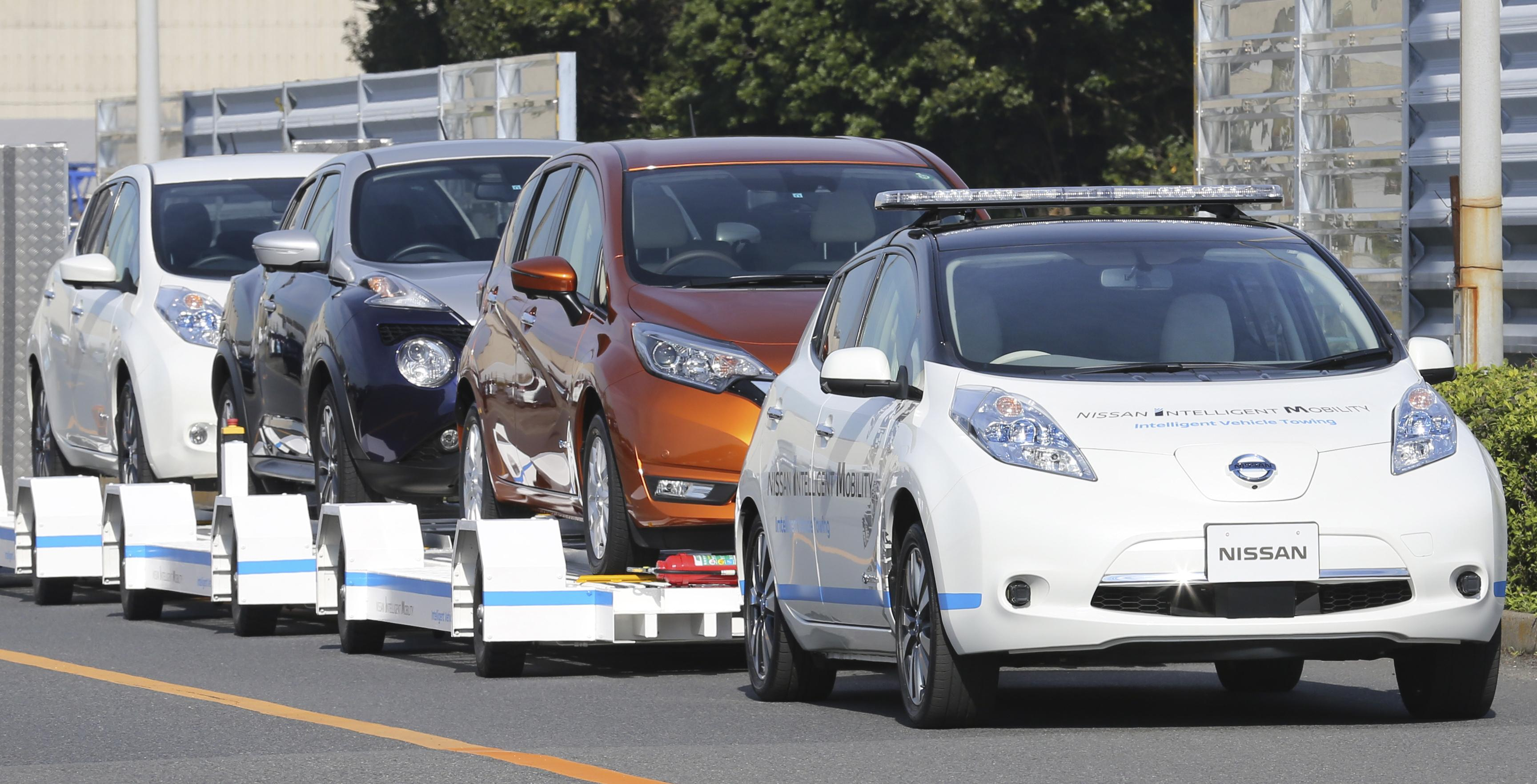 Nissan Motor Co S Leaf With No One Inside Pulls