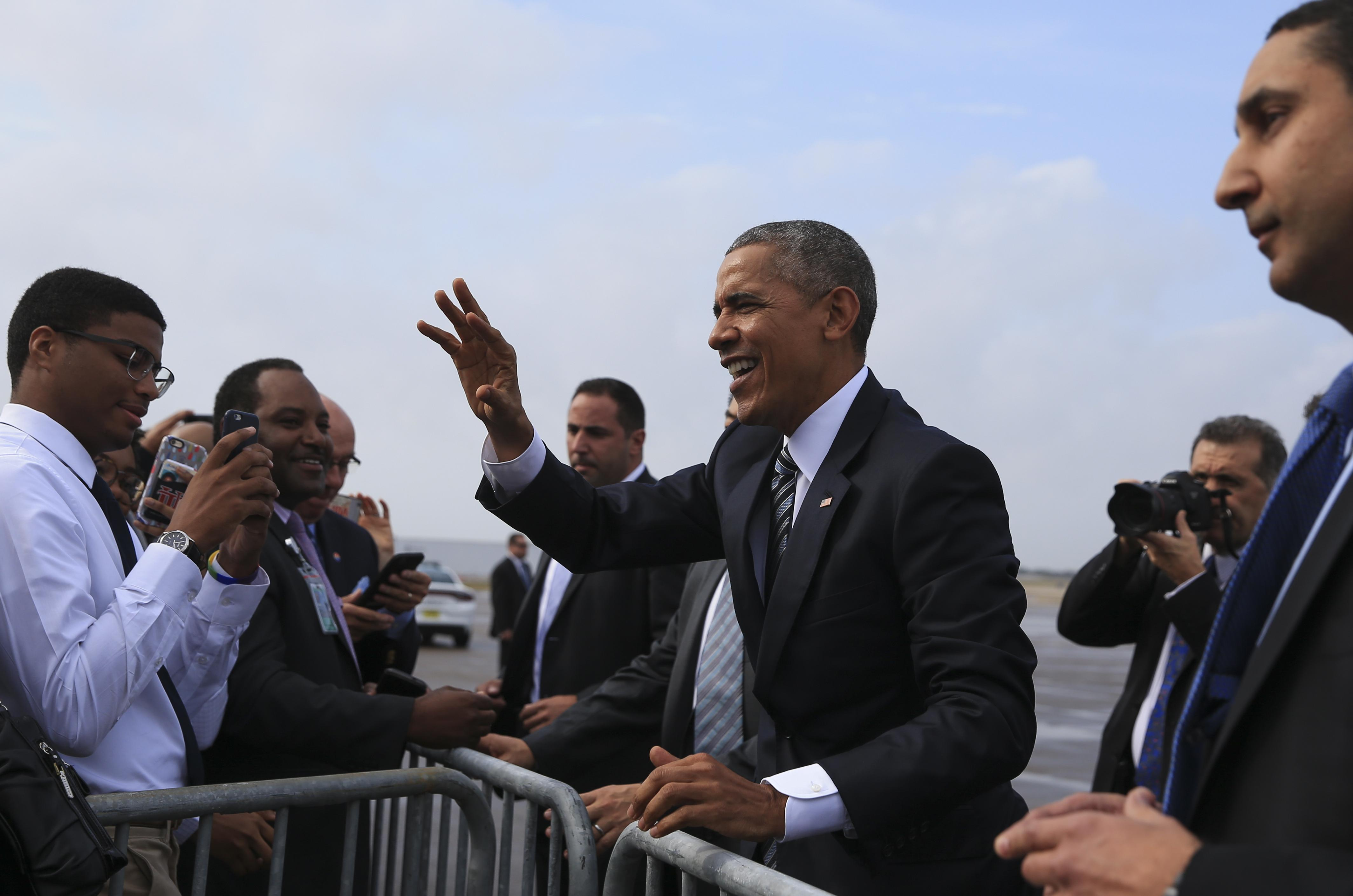 President obama defends terrorism strategy before handover to trump president barack obama greets supporters arrives in tampa fla on tuesday m4hsunfo
