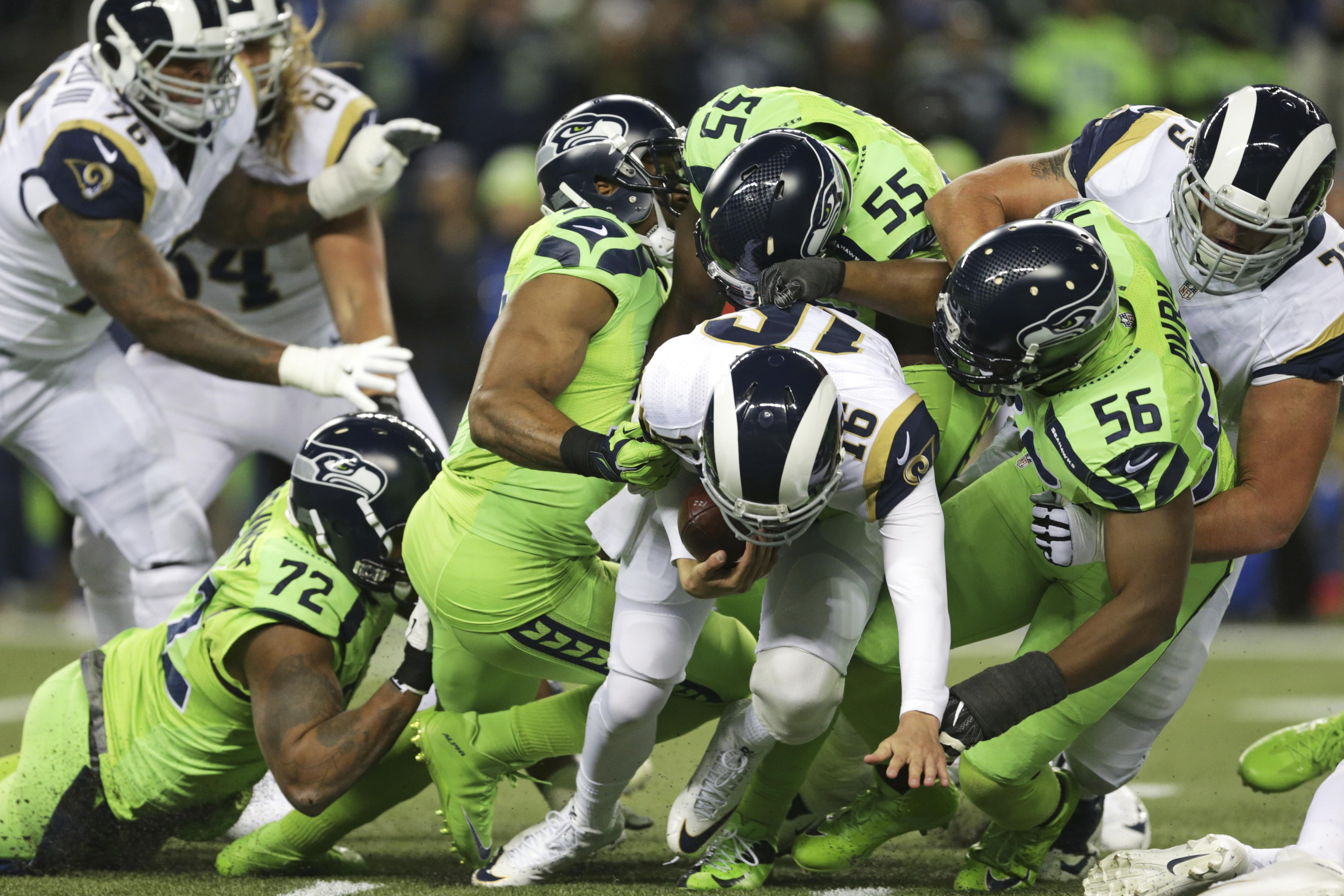 509d49ae Los Angeles Rams quarterback Jared Goff (16) is sacked by Seattle Seahawks'  Cliff