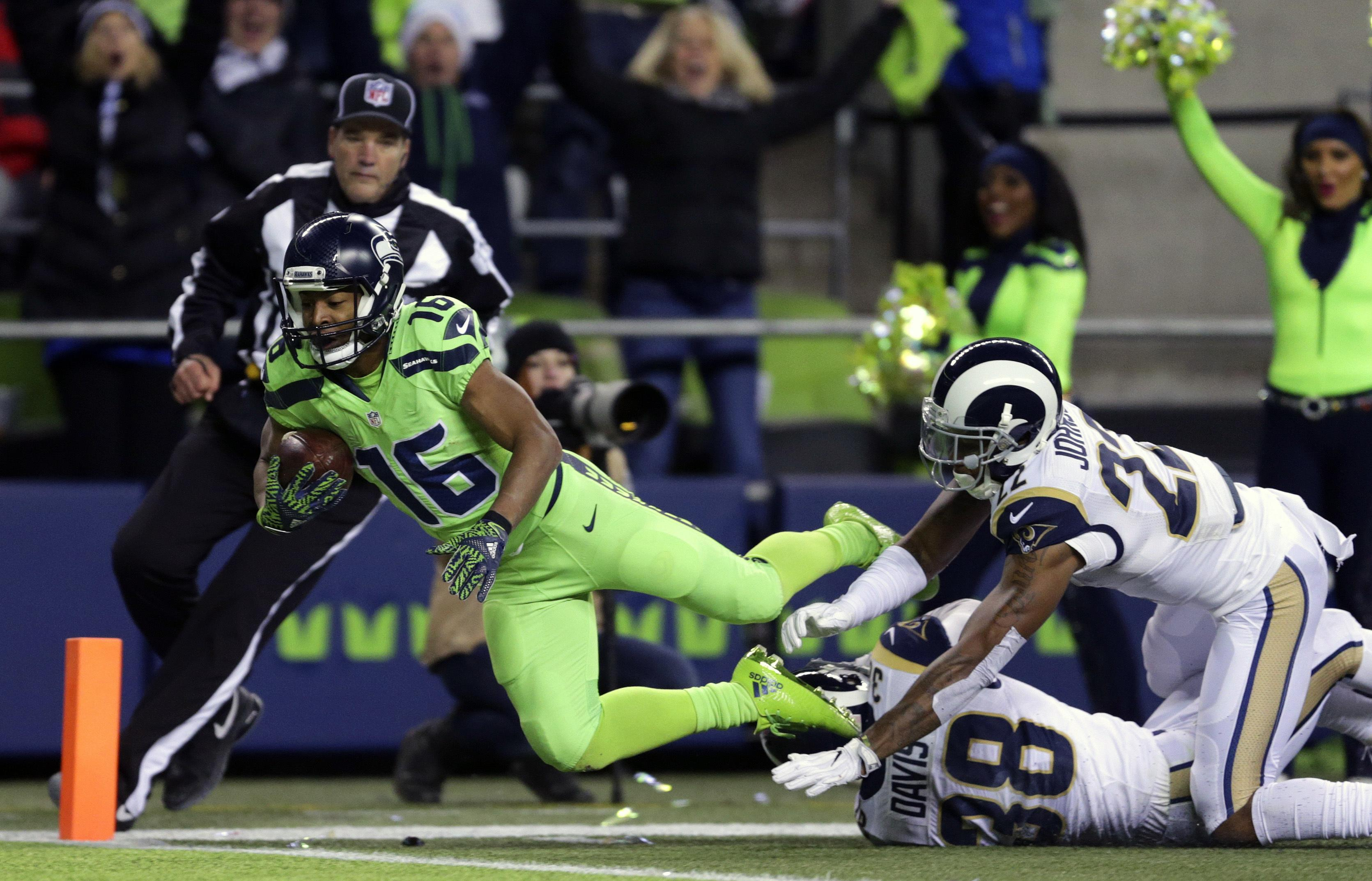492d6e9ca Tyler Lockett of the Seahawks found the end zone on this play against the  Rams but