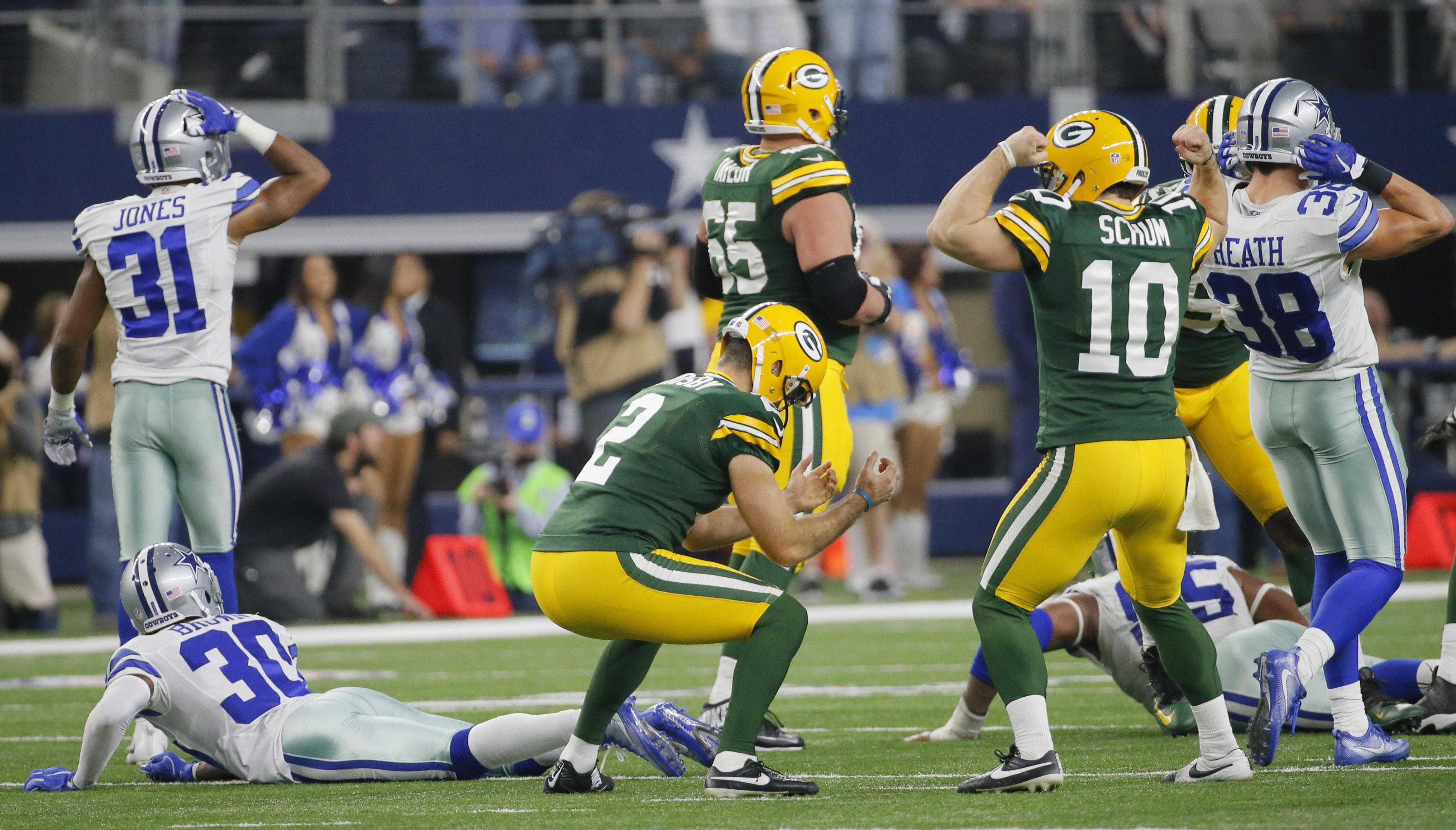Green Bay Kicker Mason Crosby 2 Reacts After Making The Game Winning Field