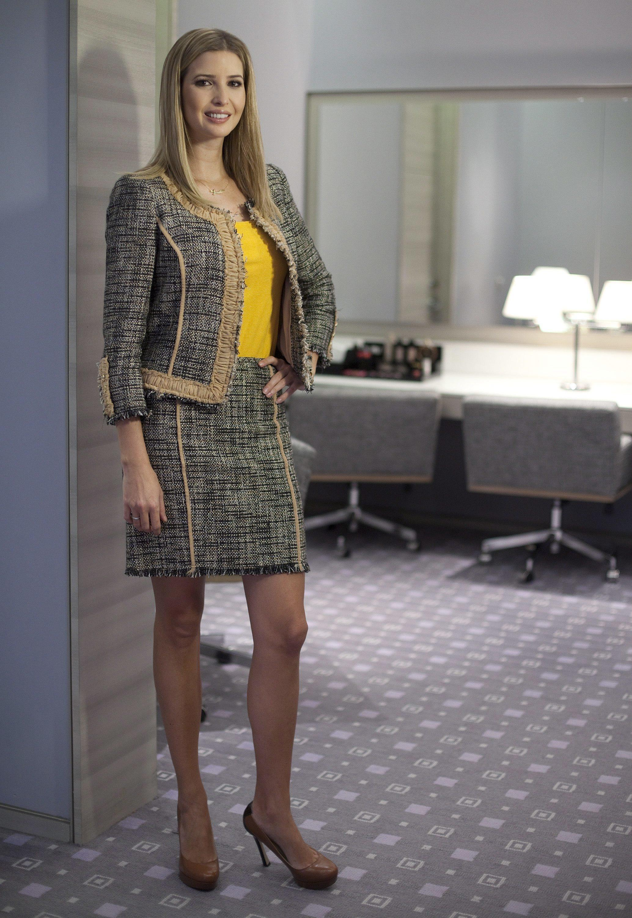In this March 6, 2015 file photo, Ivanka Trump models an outfit following an