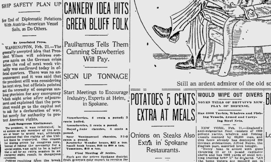 100 Years Ago In Spokane Davenport Other Restaurants Raise Potato