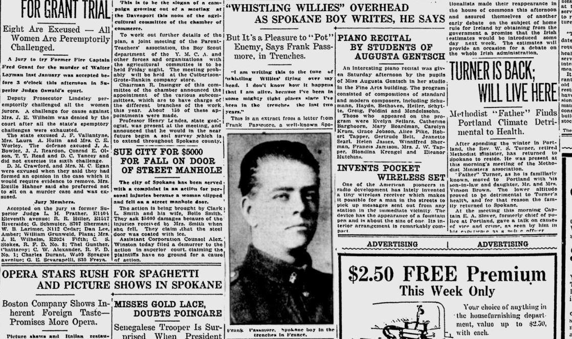 100 years ago in Spokane: Local man fighting in Canadian Army