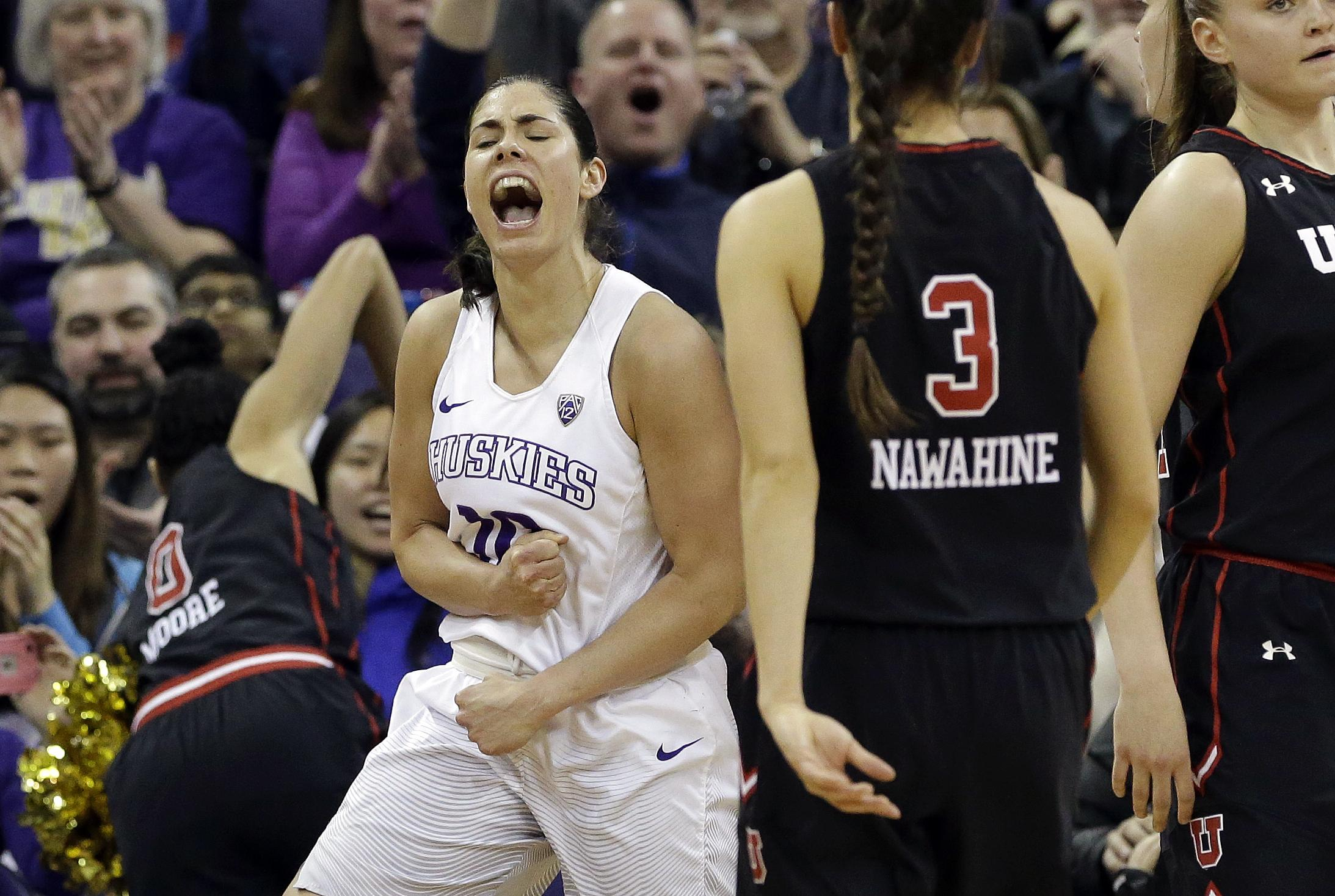 Washington s Kelsey Plum reacts after scoring against Utah in the second  half of an NCAA college 75a17e08b