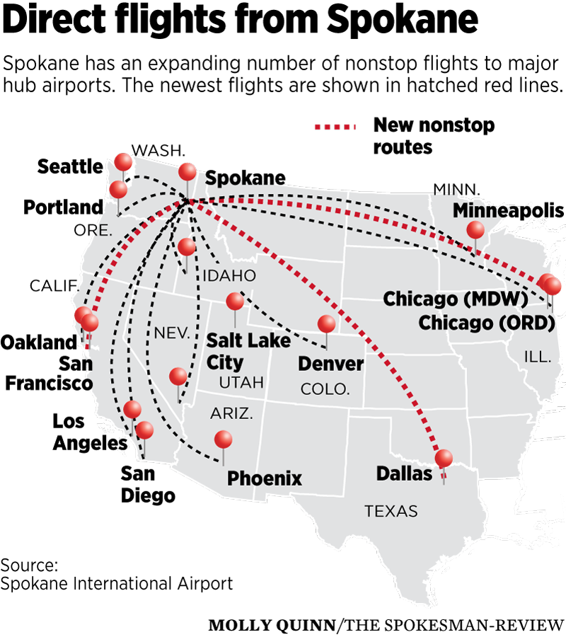 New flights boosting travel options at Spokane airport | The ... on
