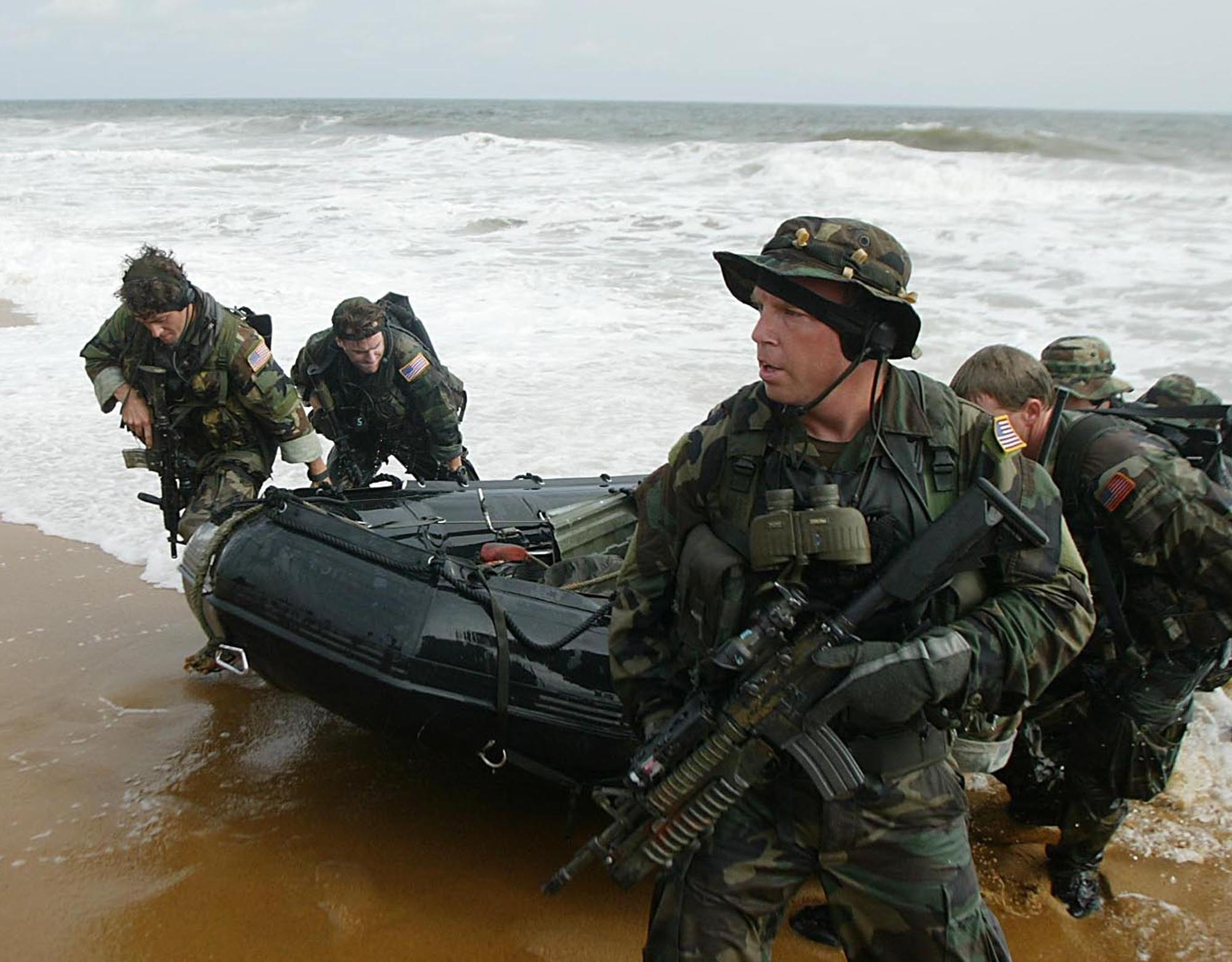 American Navy Seals Land On The Main Beach In Monrovia Liberia This Aug