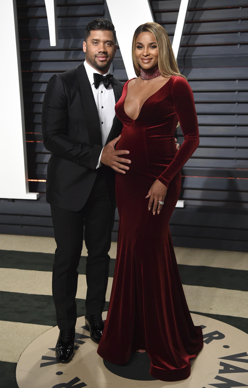 Rus Wilson Left And Ciara Arrive At The Vanity Fair Oscar Party On Sunday