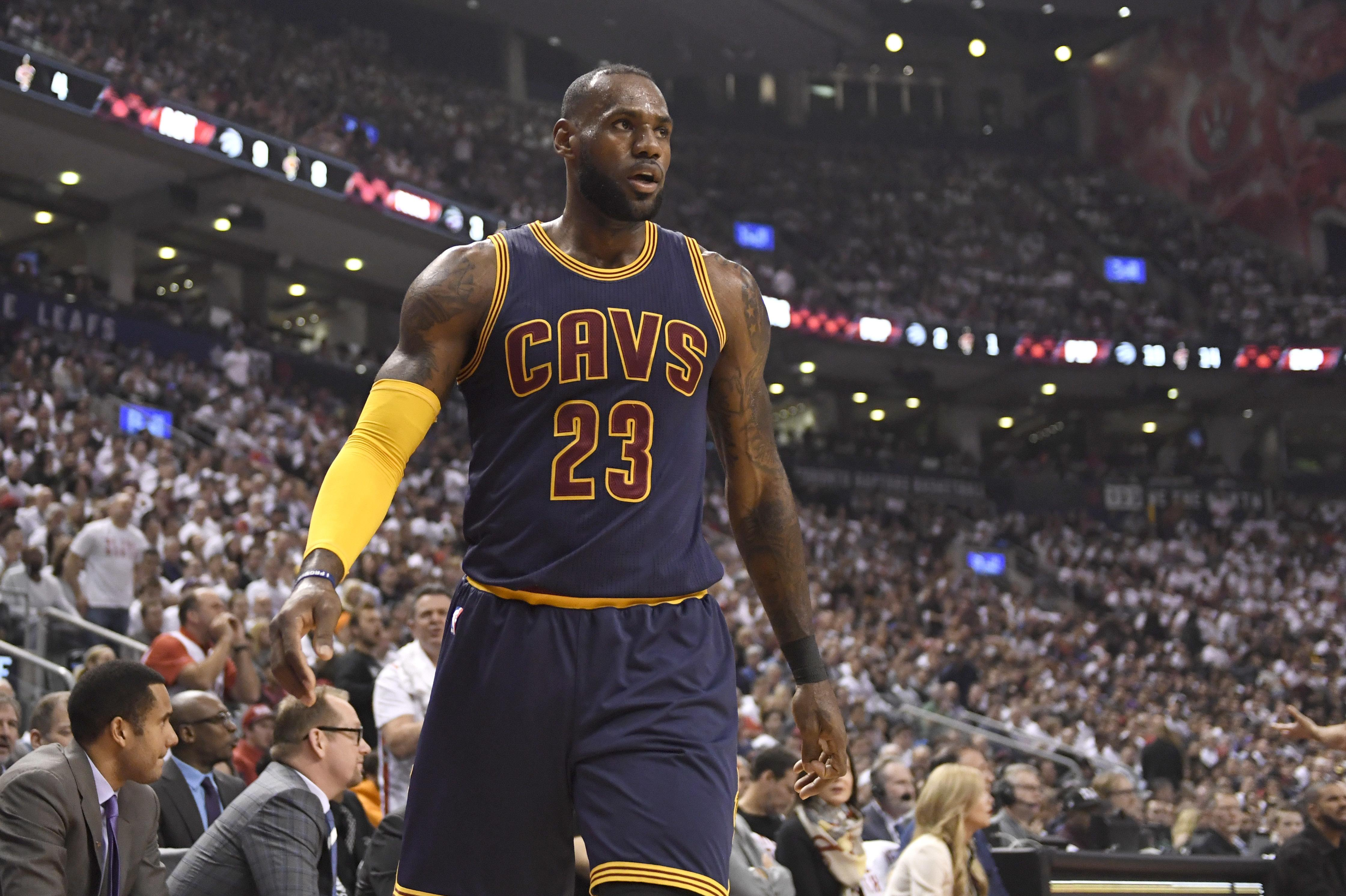 Cleveland Cavaliers forward LeBron James (23) walks downcourt during the  first half of Game 637303d08