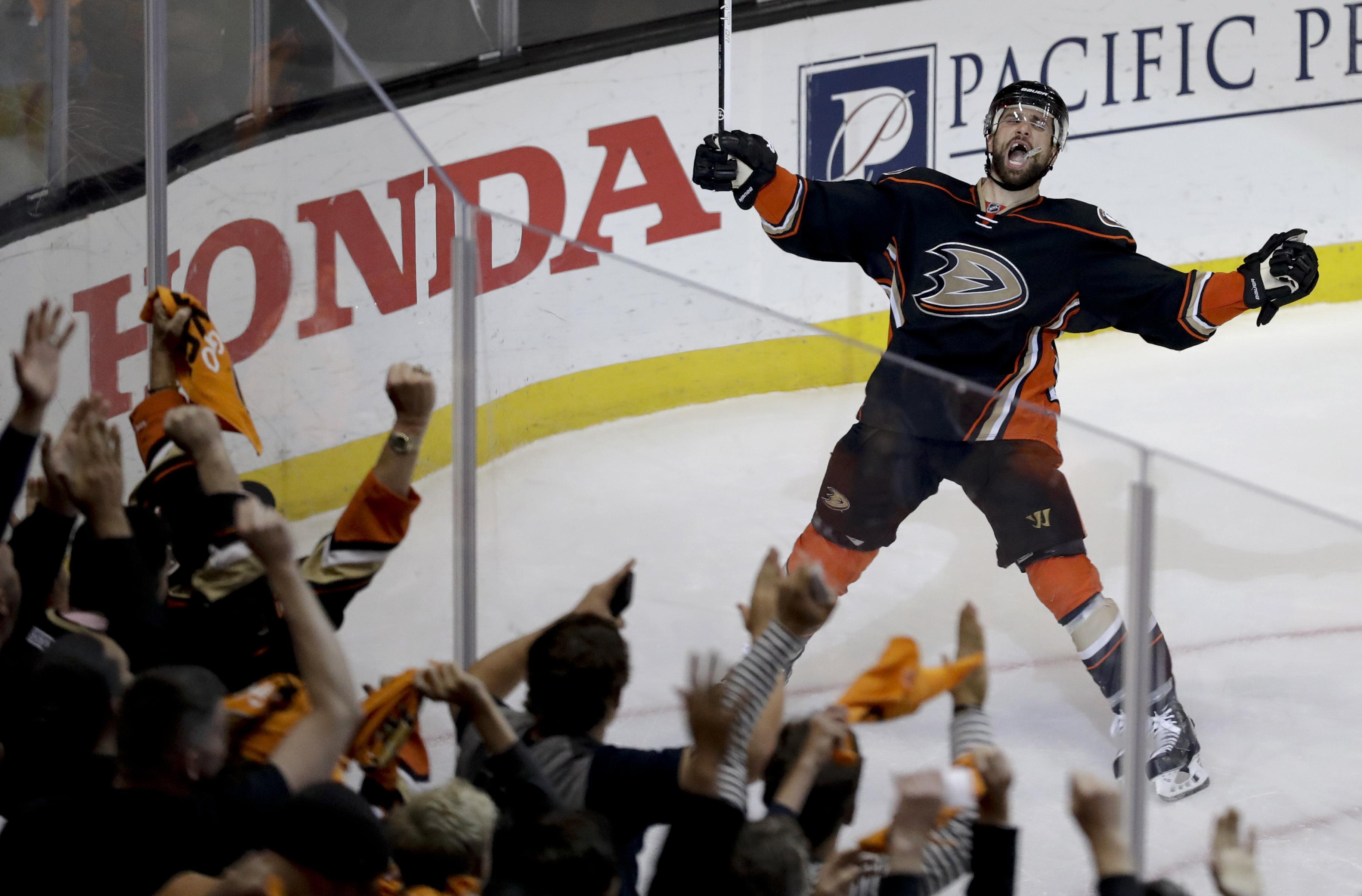 a087553ca Anaheim Ducks center Andrew Cogliano celebrates after scoring during the  second period in Game 7 of