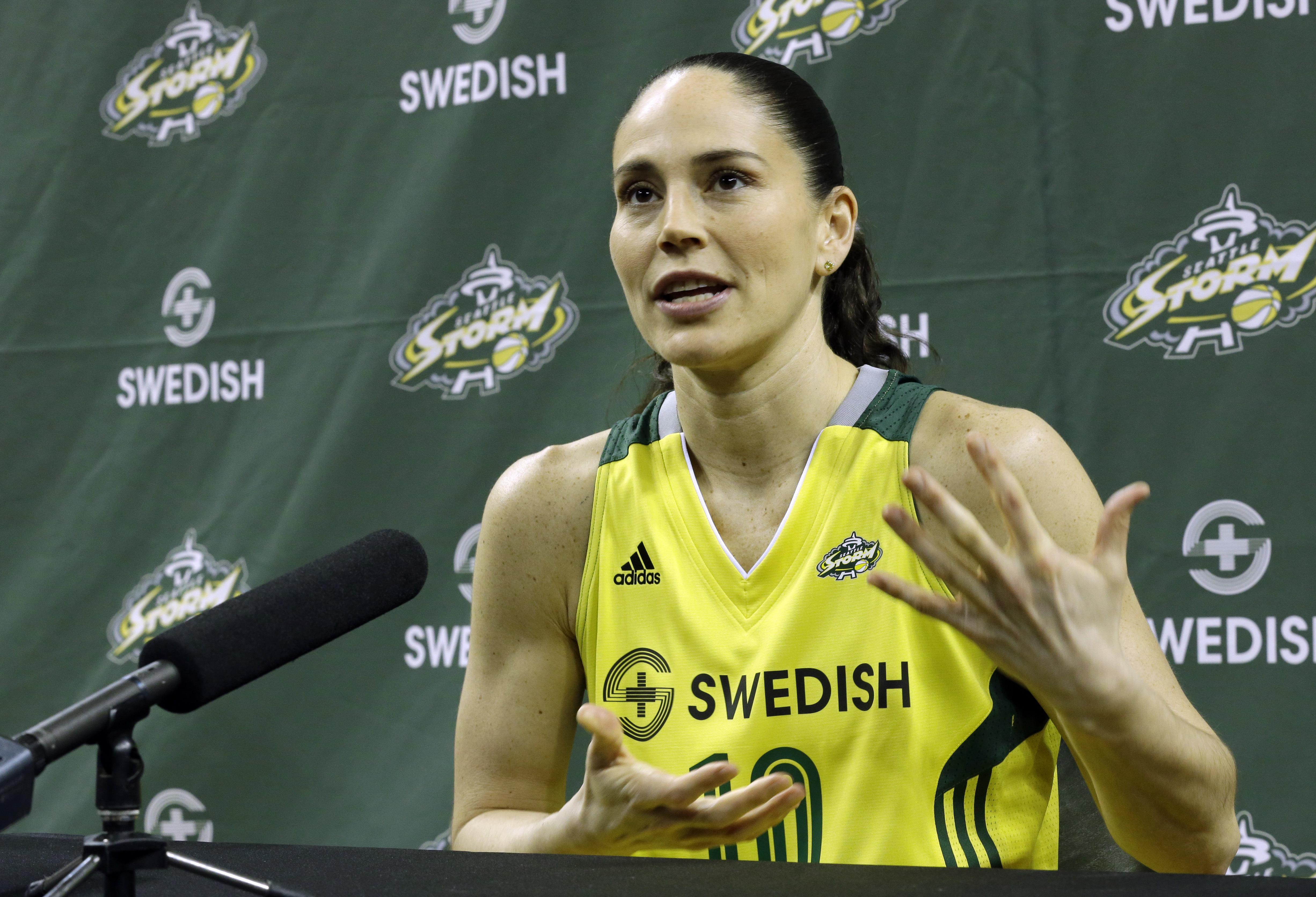 a31da4880222 Seattle Storm guard Sue Bird talks to reporters during the team s annual WNBA  basketball media day