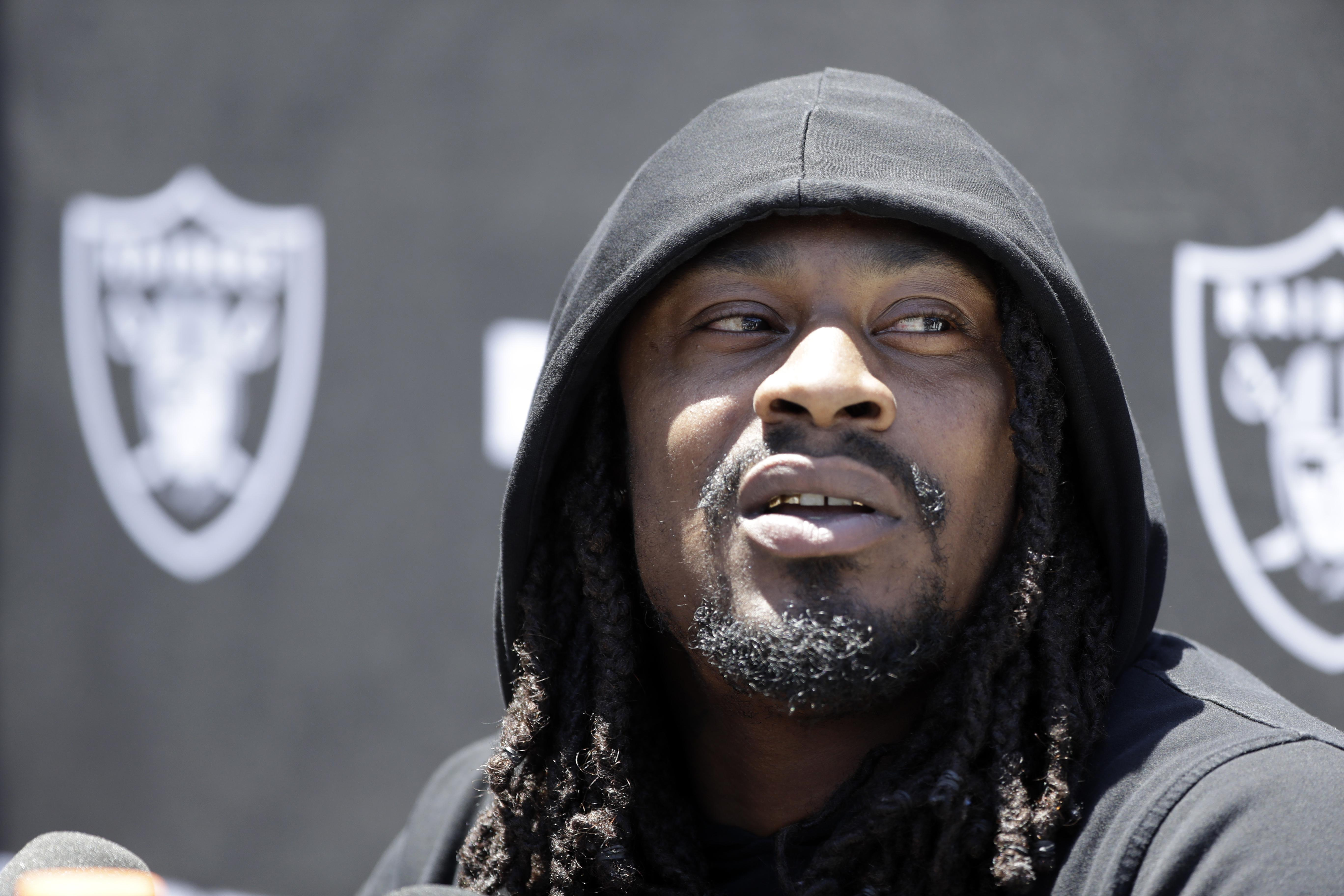 Oakland Raiders running back Marshawn Lynch fields questions after the  team s organized team activity on Tuesday 0bb9f0fb1