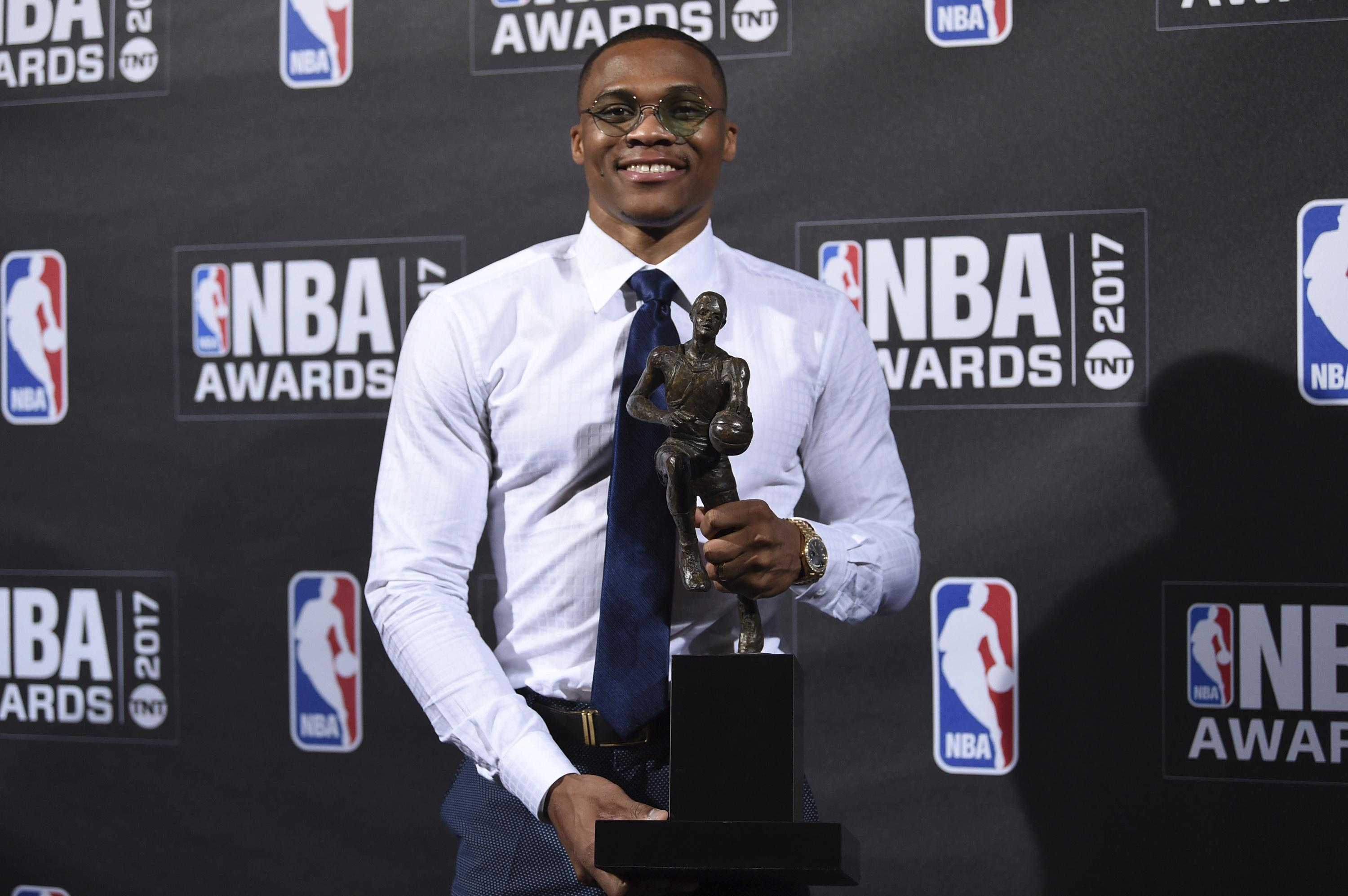 russell westbrook easily wins mvp at nba awards night | the