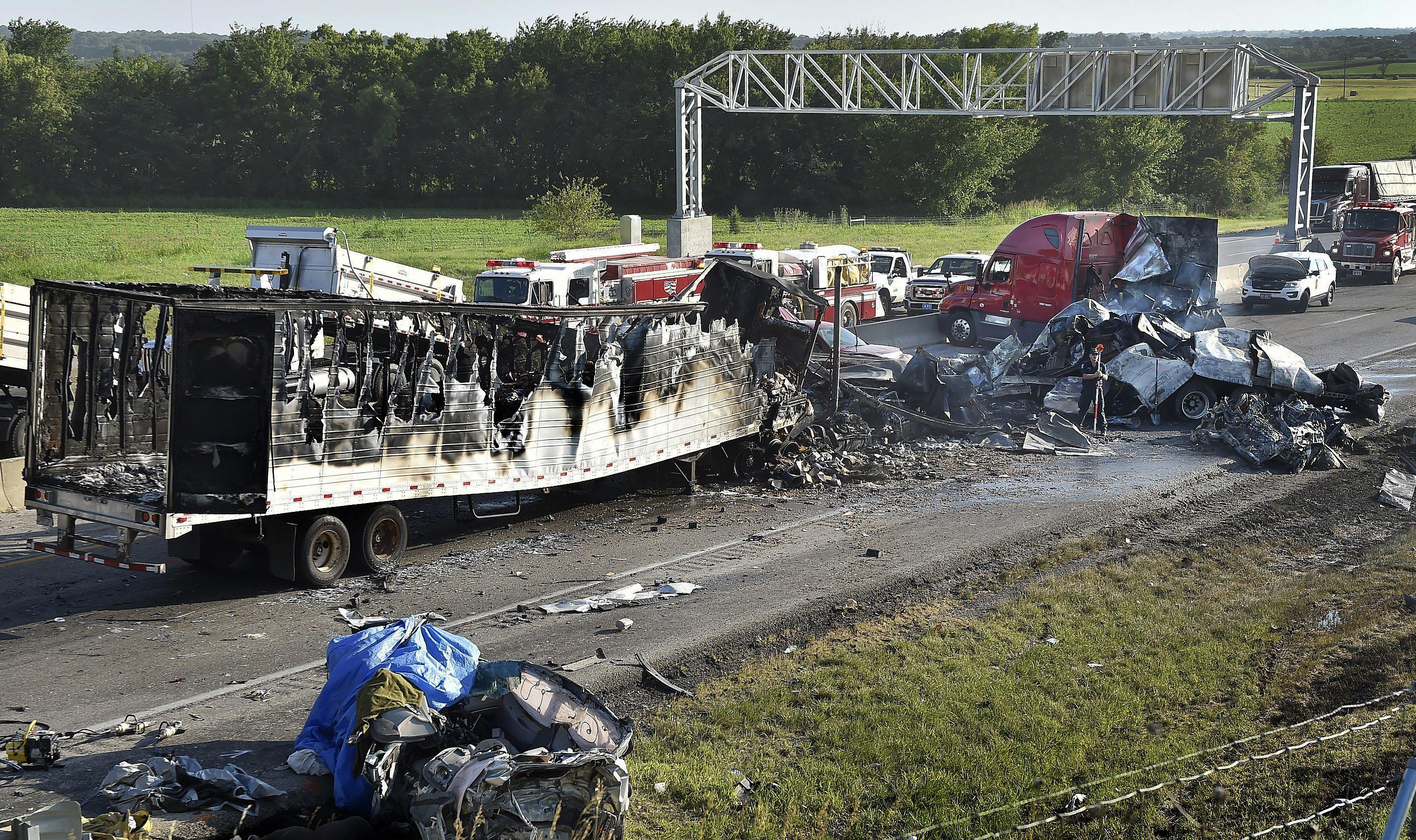 Five die in fiery, six-vehicle pileup on I-70 in Kansas | The