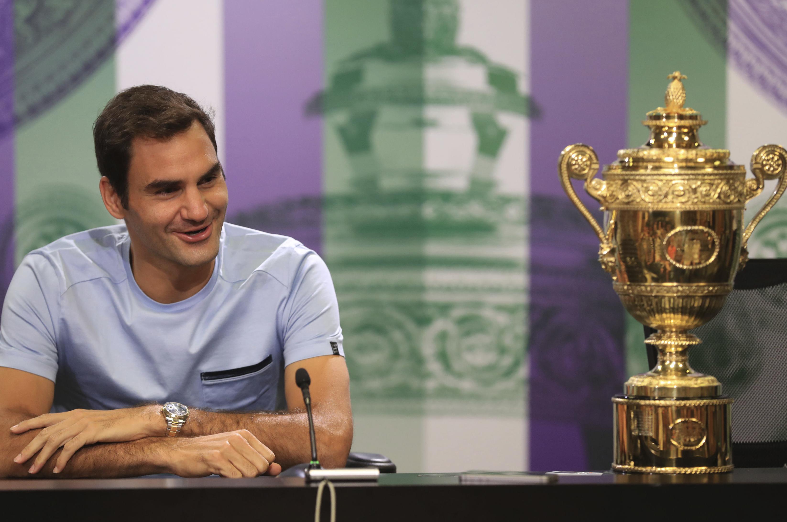 5f45bda81 Switzerland s Roger Federer has won a record eight Wimbledon singles titles  and 19 major singles titles